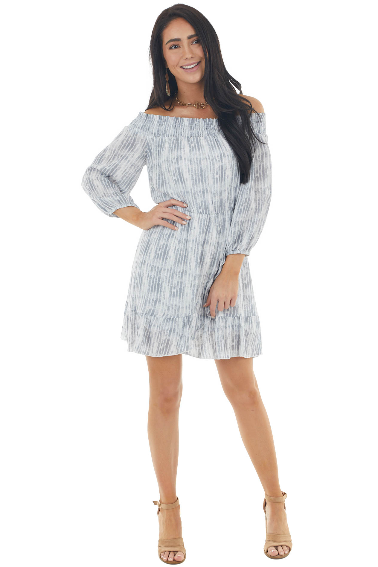 Steel and Ivory Tie Dye Striped Off the Shoulder Mini Dress