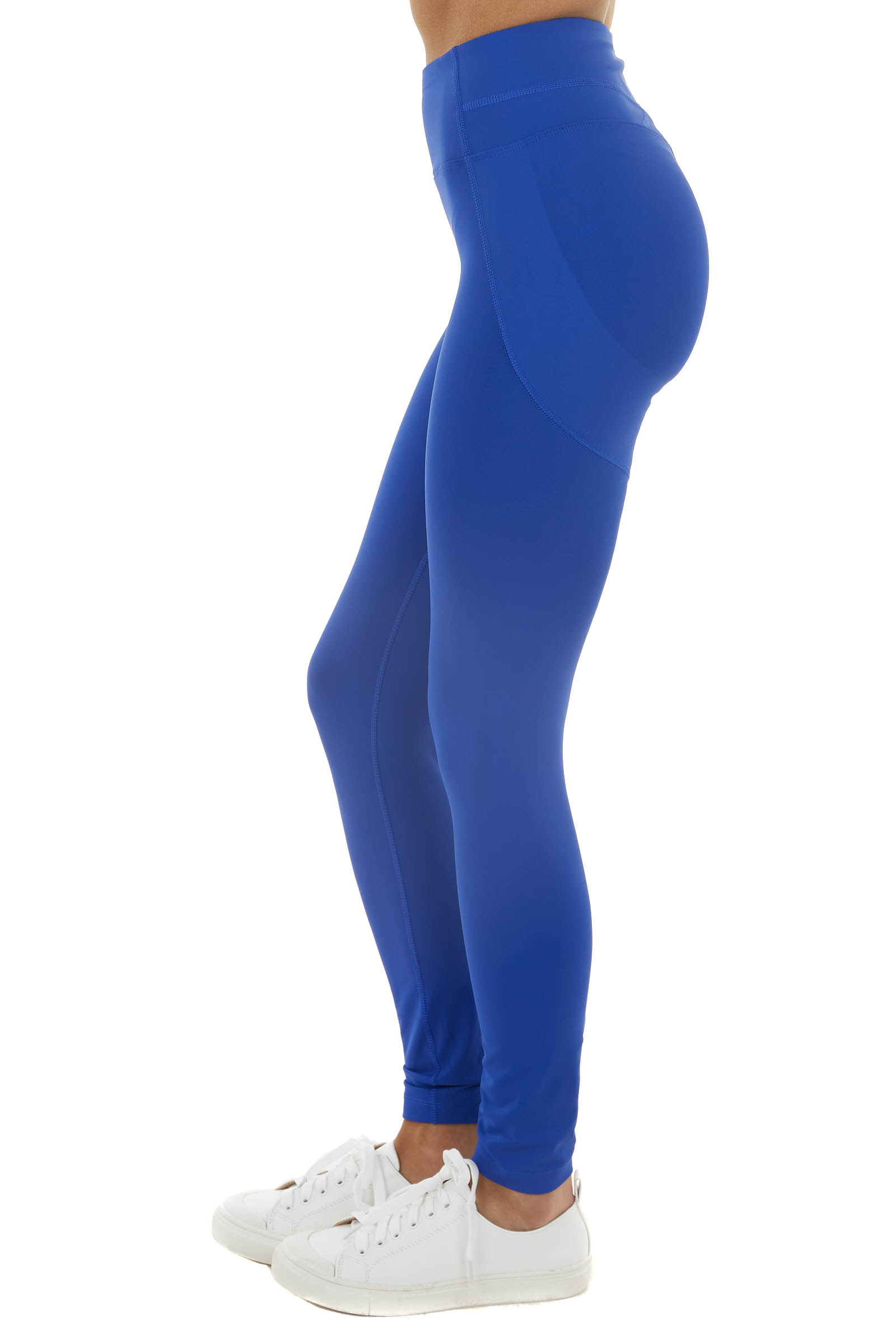 Royal Blue High Waisted Stretchy Leggings with Elastic Waist