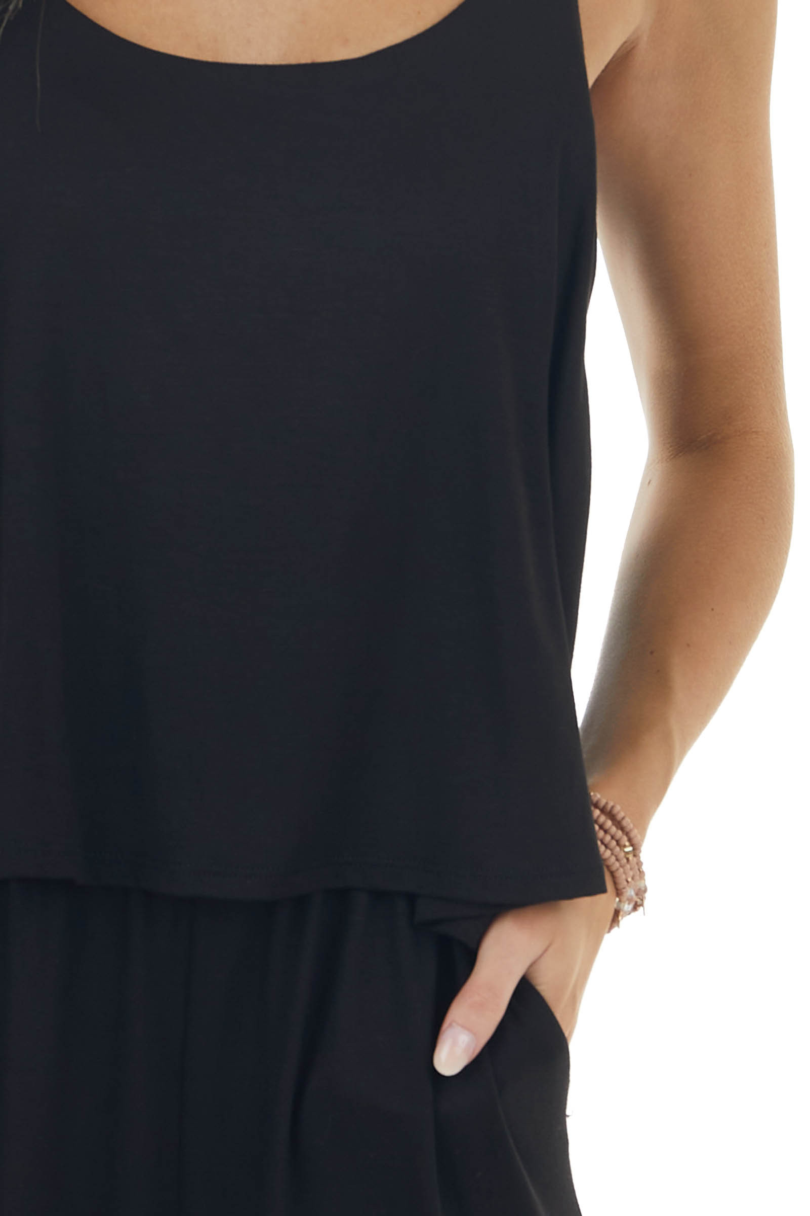 Black Sleeveless Overlaying Knit Jumpsuit with Pockets