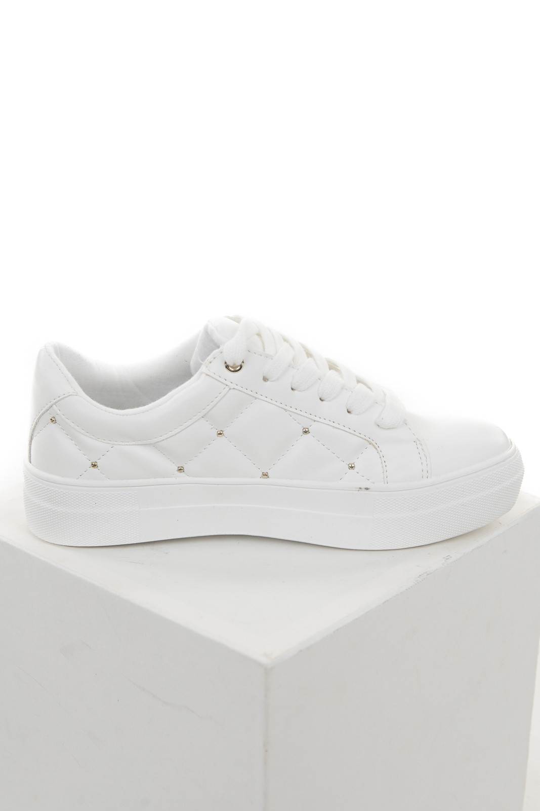 Off White Diamond Quilted Rubber Sneakers with Laces