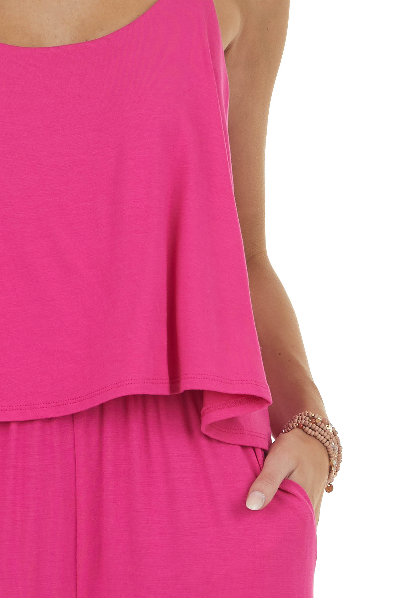 Hot Pink Sleeveless Overlaying Knit Jumpsuit with Pockets