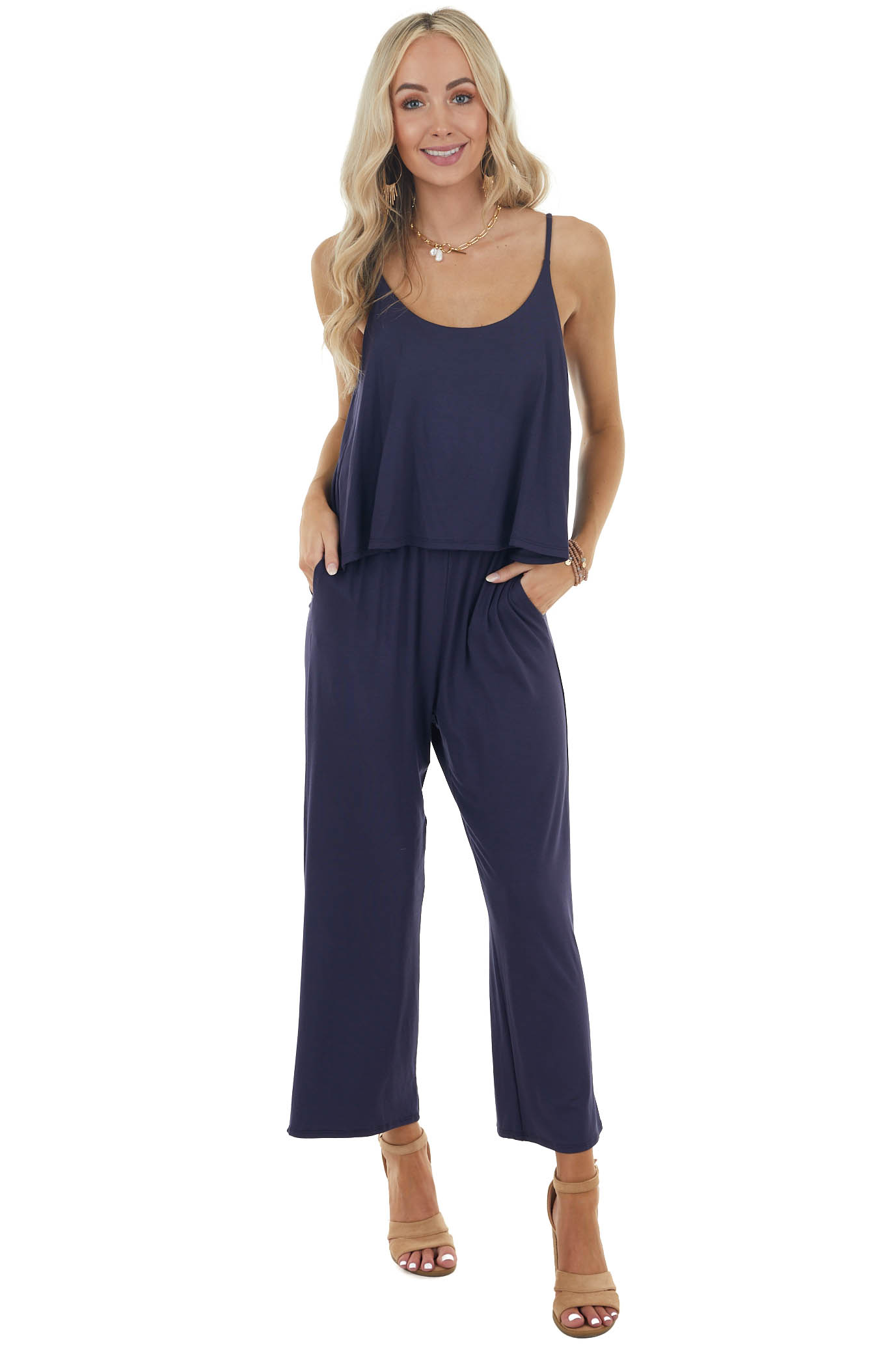 Navy Blue Sleeveless Overlaying Knit Jumpsuit with Pockets