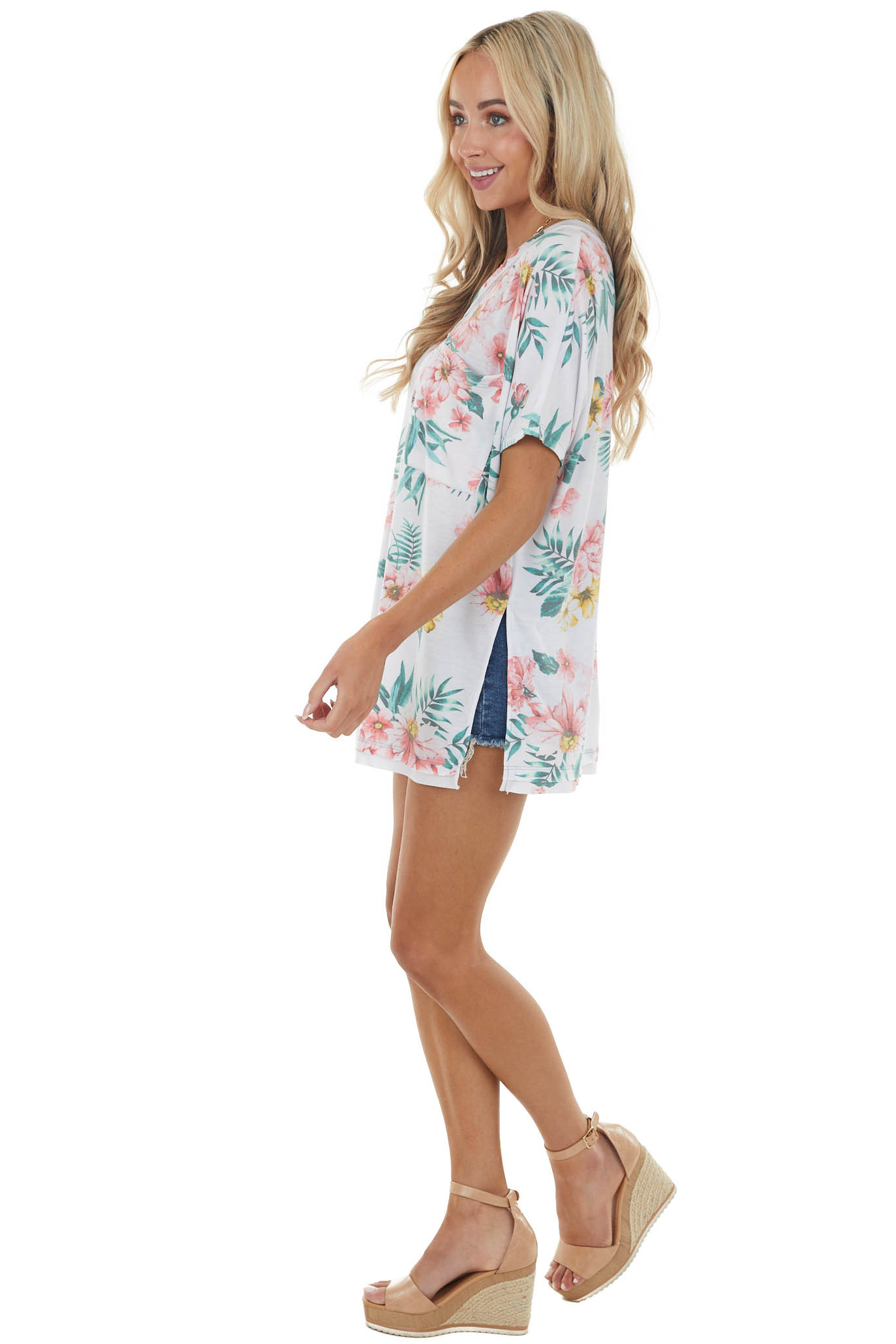 Ivory Floral Short Sleeve Top with Pocket and Side Slits