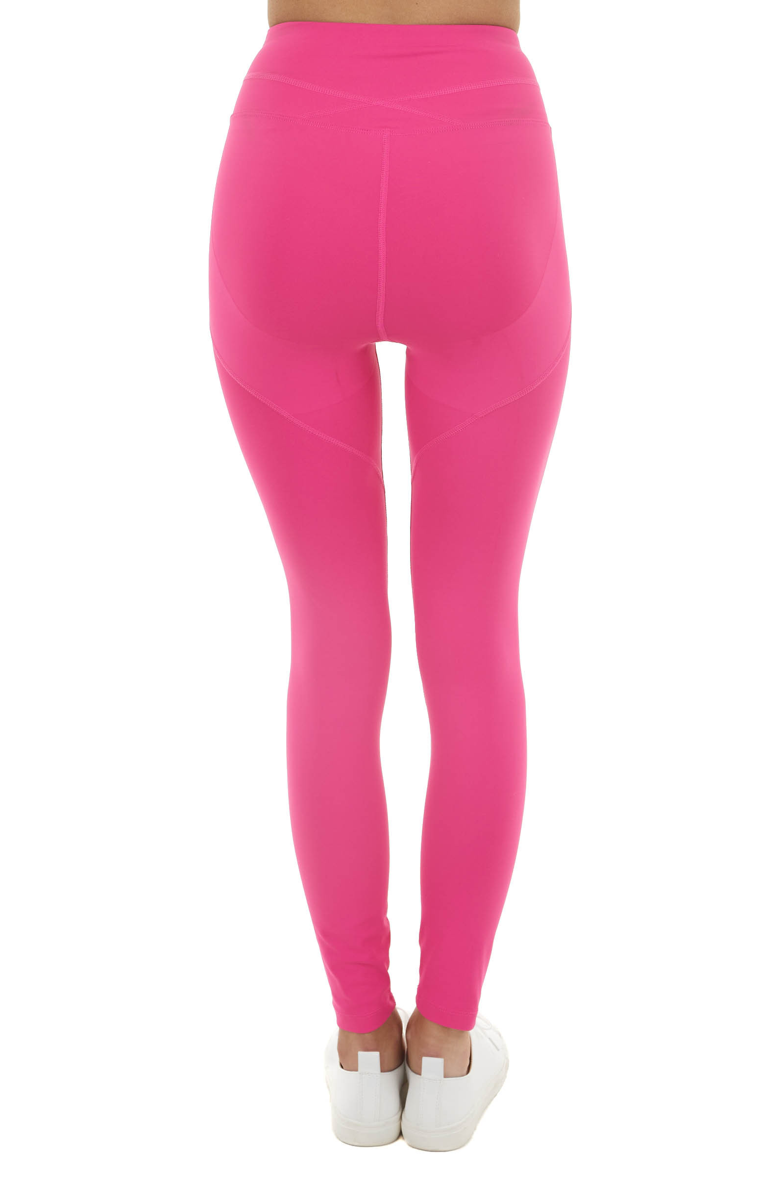 Hot Pink High Waisted Stretchy Leggings with Elastic Waist