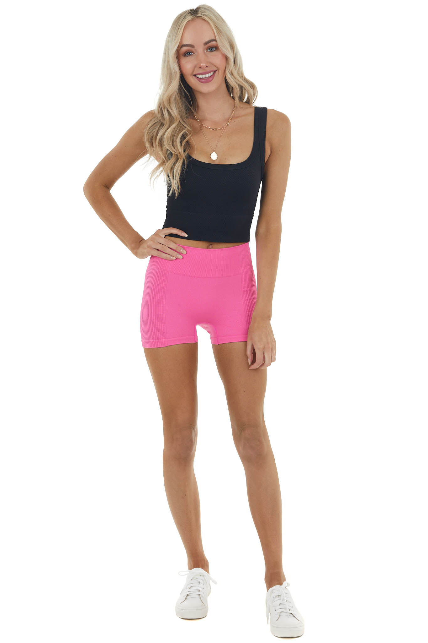 Hot Pink Ribbed High Waisted Fitted Biker Shorts