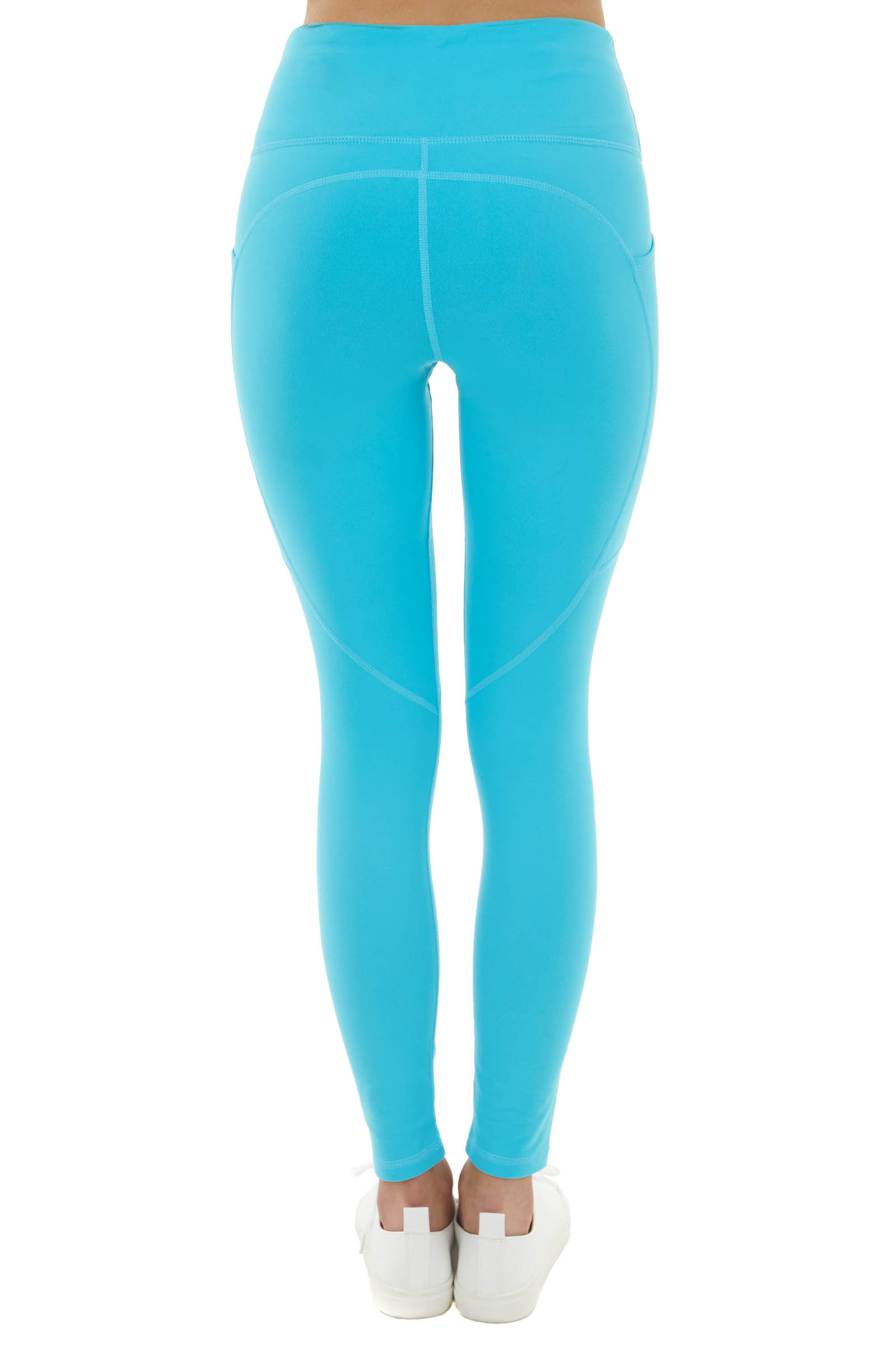 Turquoise High Waisted Leggings with Side Pockets
