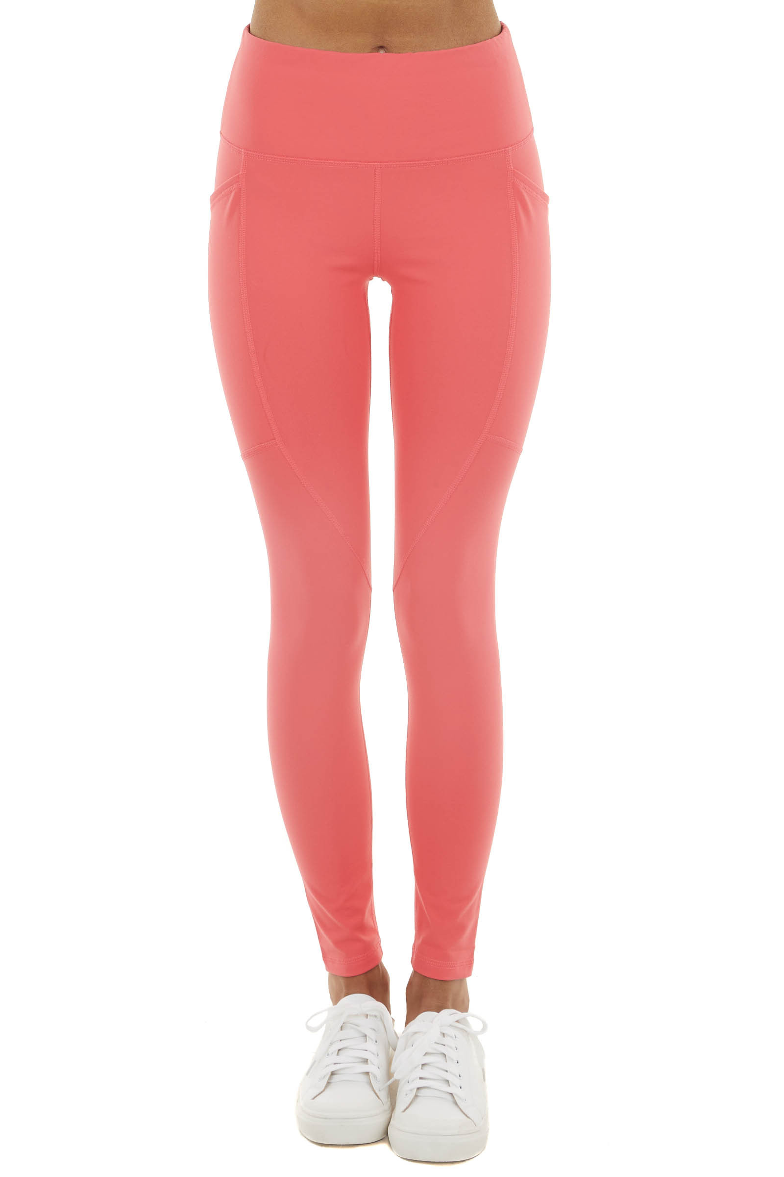 Bright Punch High Waisted Leggings with Side Pockets