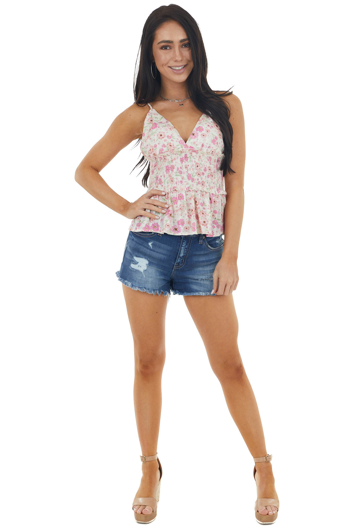 Fuchsia and Cream Floral Print Sleeveless Peplum Tank Top