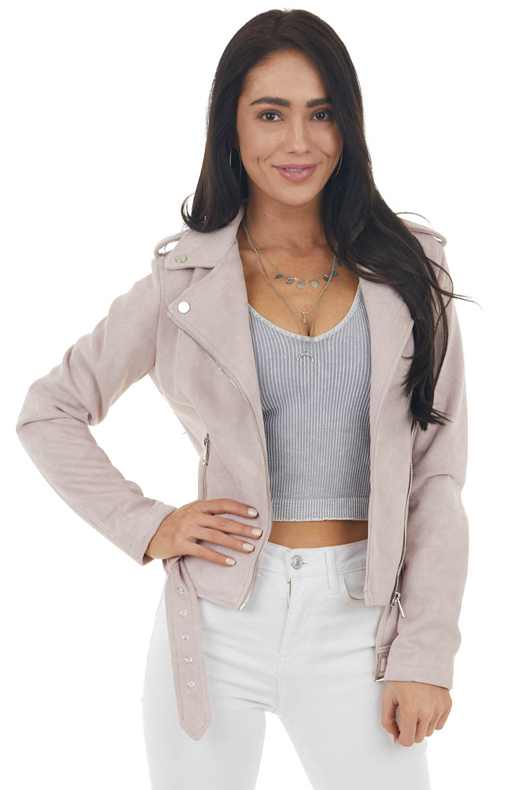 Dusty Blush Suede Moto Jacket with Collar and Belted Hem