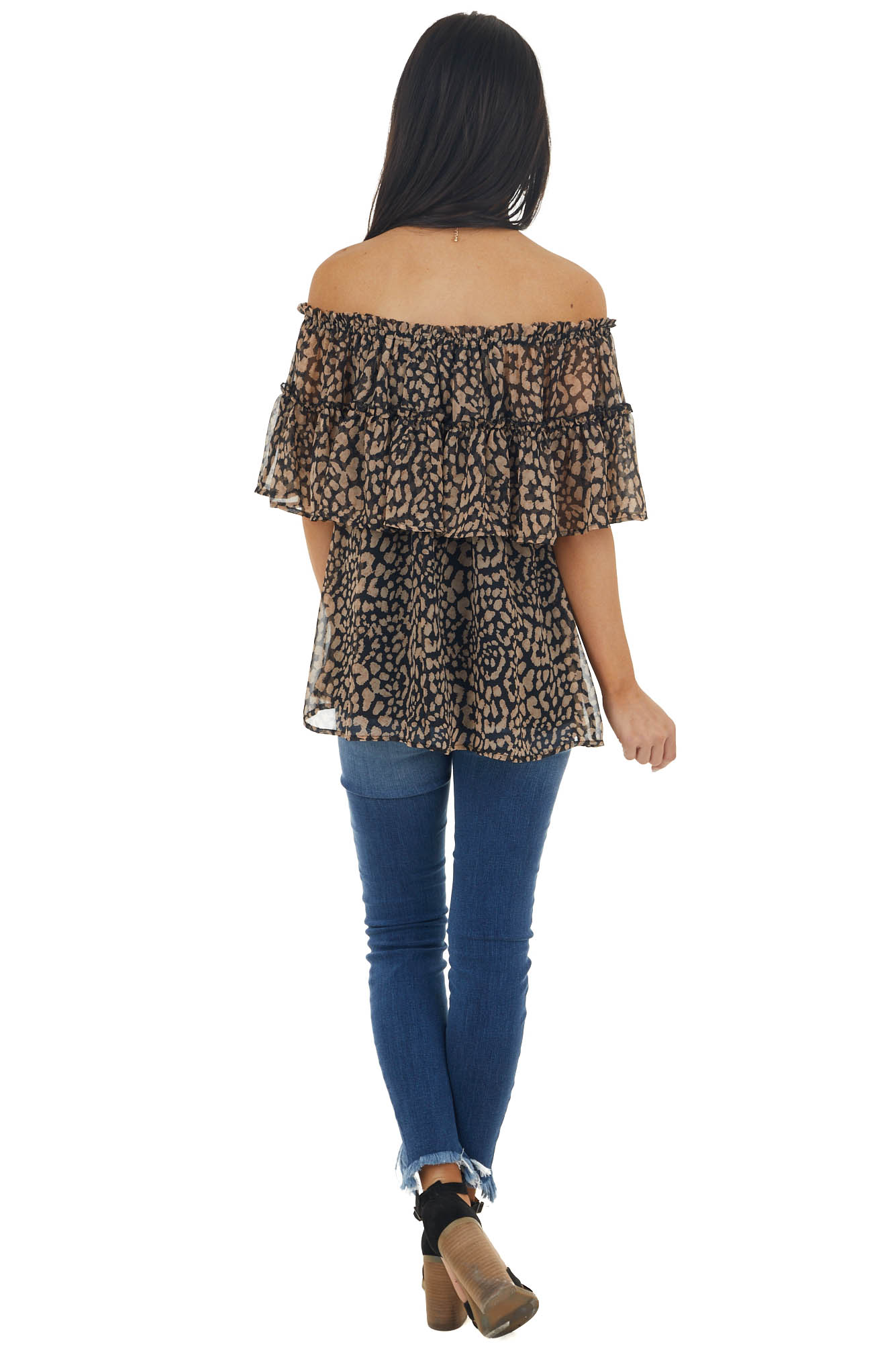 Black Animal Print Off Shoulder Tiered Overlaying Blouse
