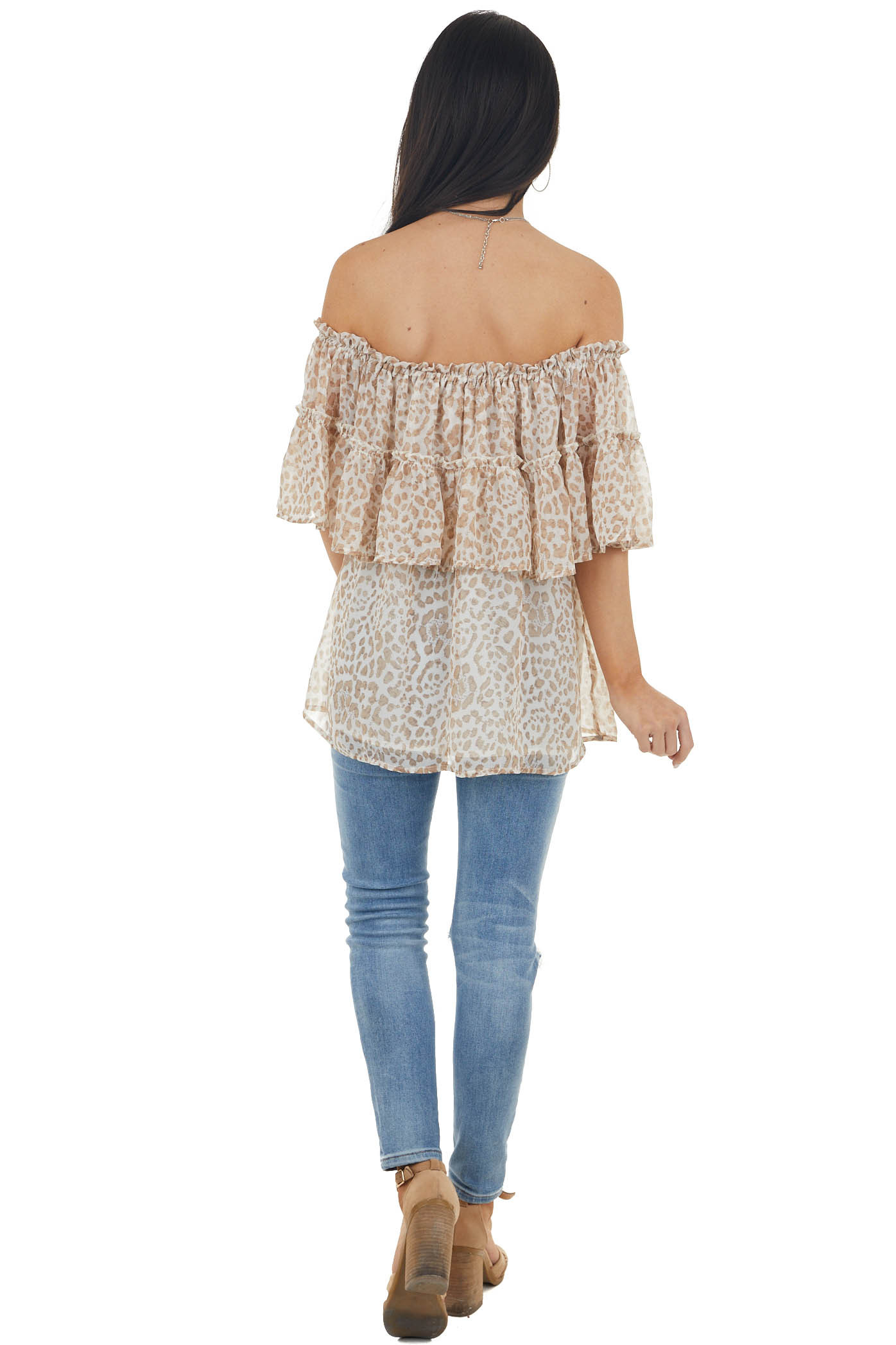 Cream Animal Print Off Shoulder Tiered Overlaying Blouse