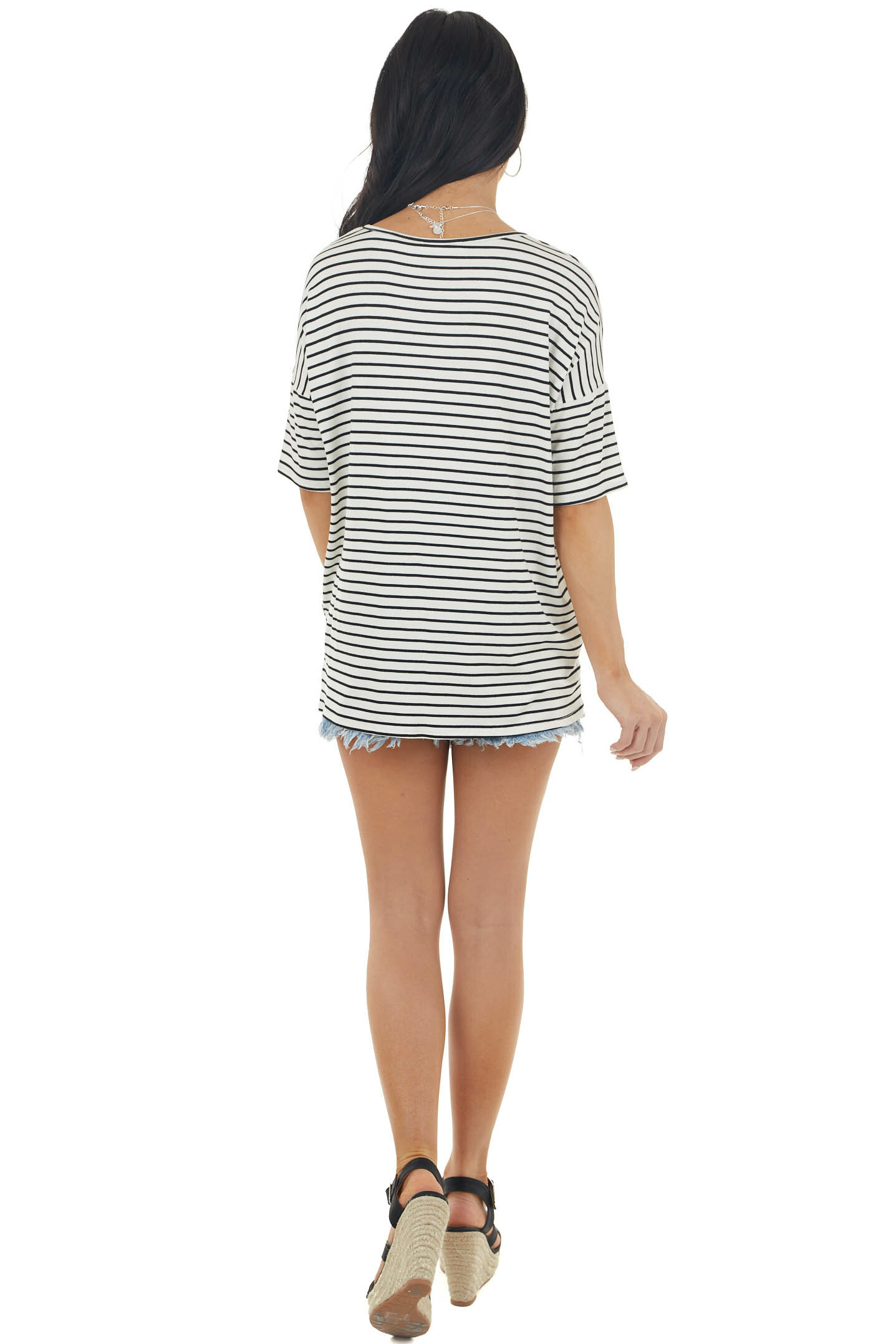 Ivory and Black Striped Print Short Sleeve Knit Top