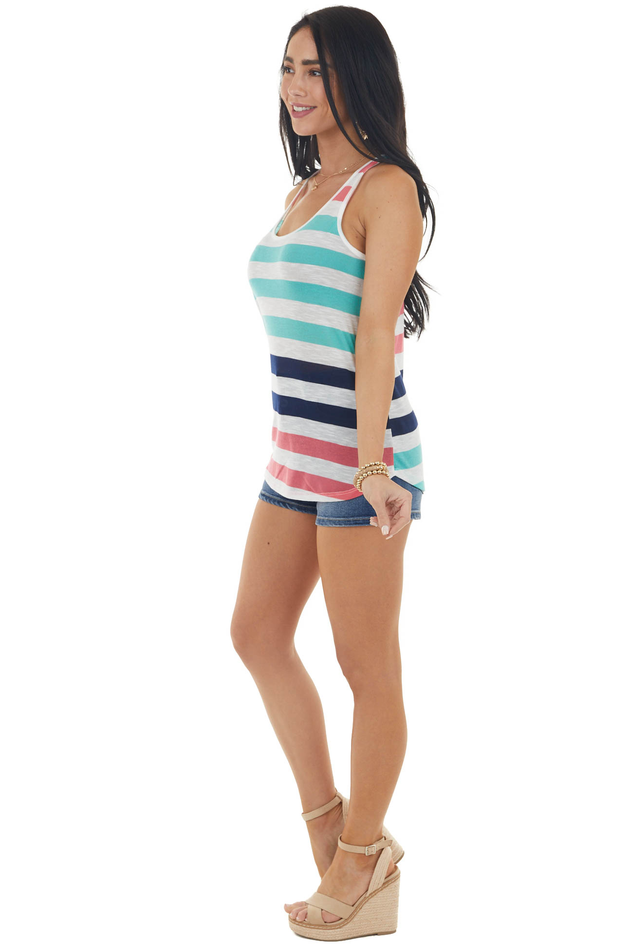 Aqua and Pearl Striped Knit Tank Top with Rounded Hem