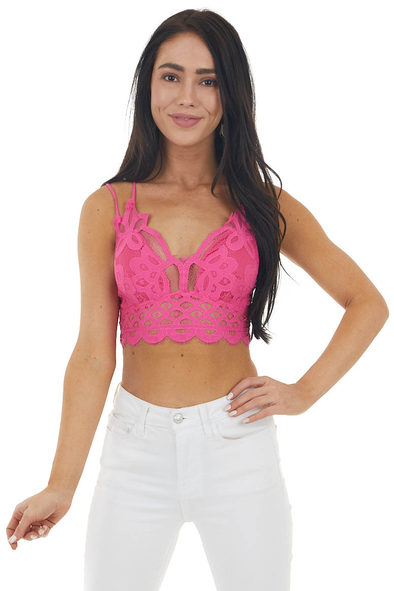 Fuchsia Padded Lace Bralette with Criss Cross Straps