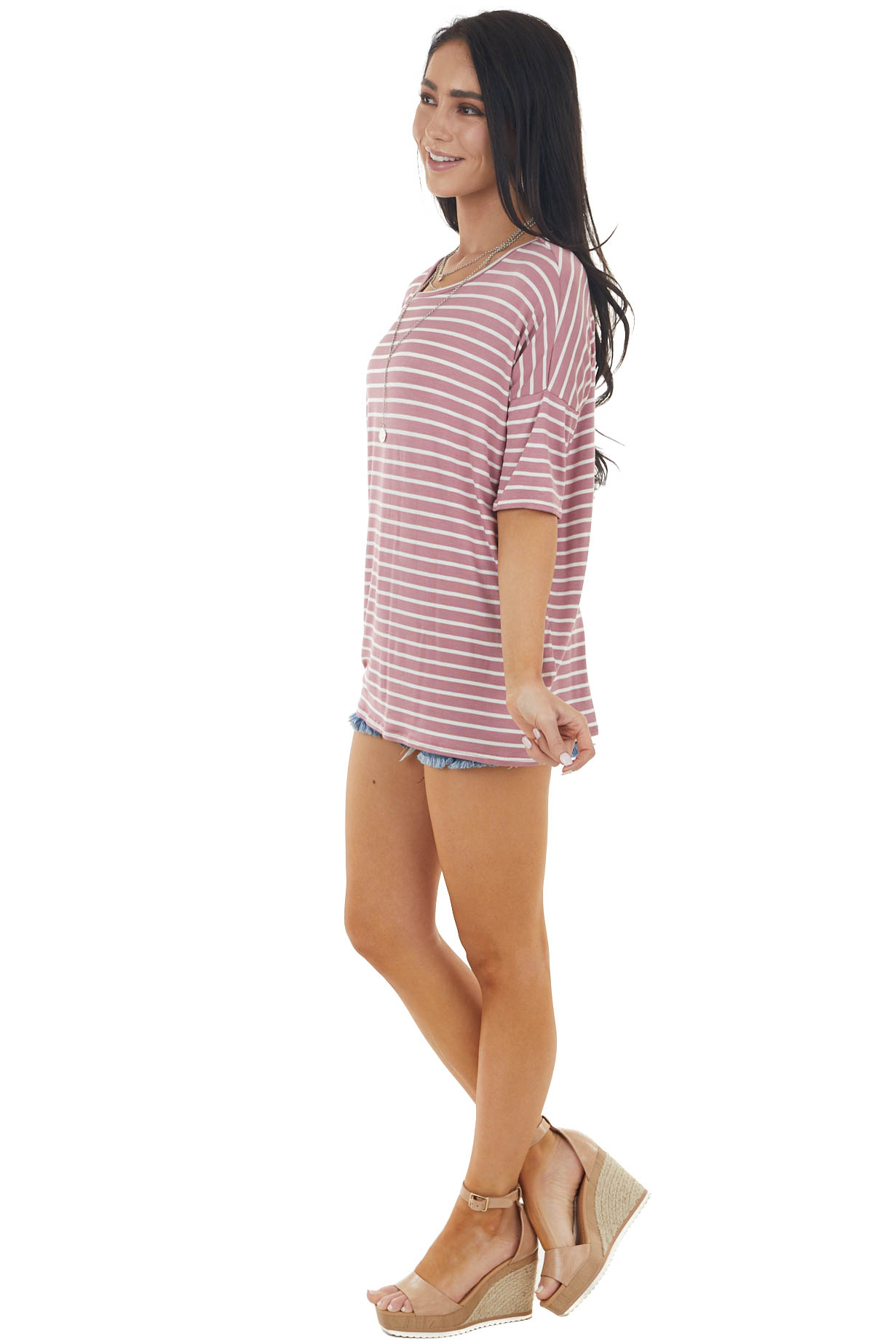 Mauve and Ivory Striped Print Short Sleeve Knit Top