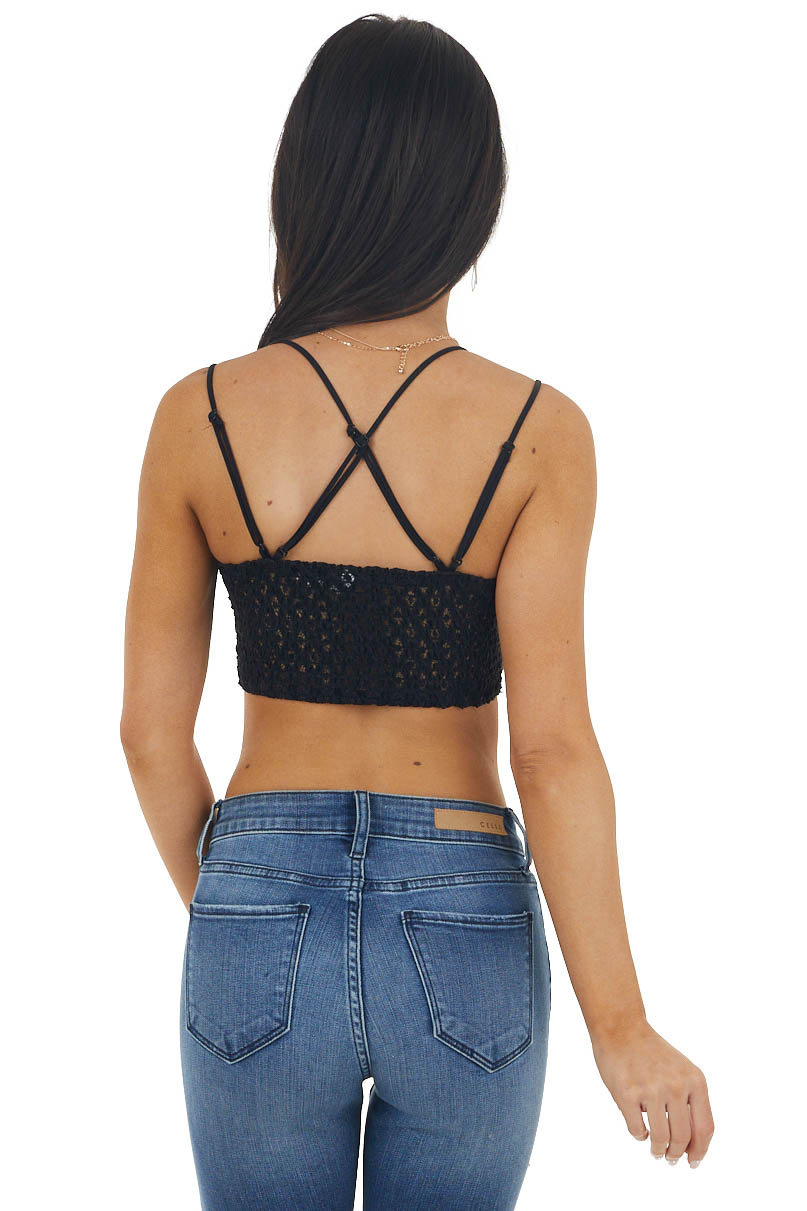 Black Padded Lace Bralette with Criss Cross Straps