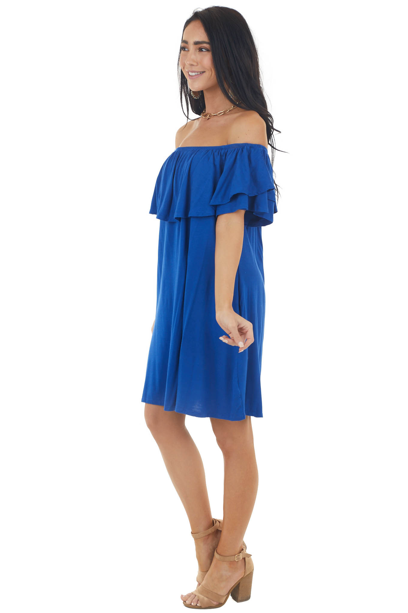 Royal Blue Off the Shoulder Mini Dress with Ruffle Overlay