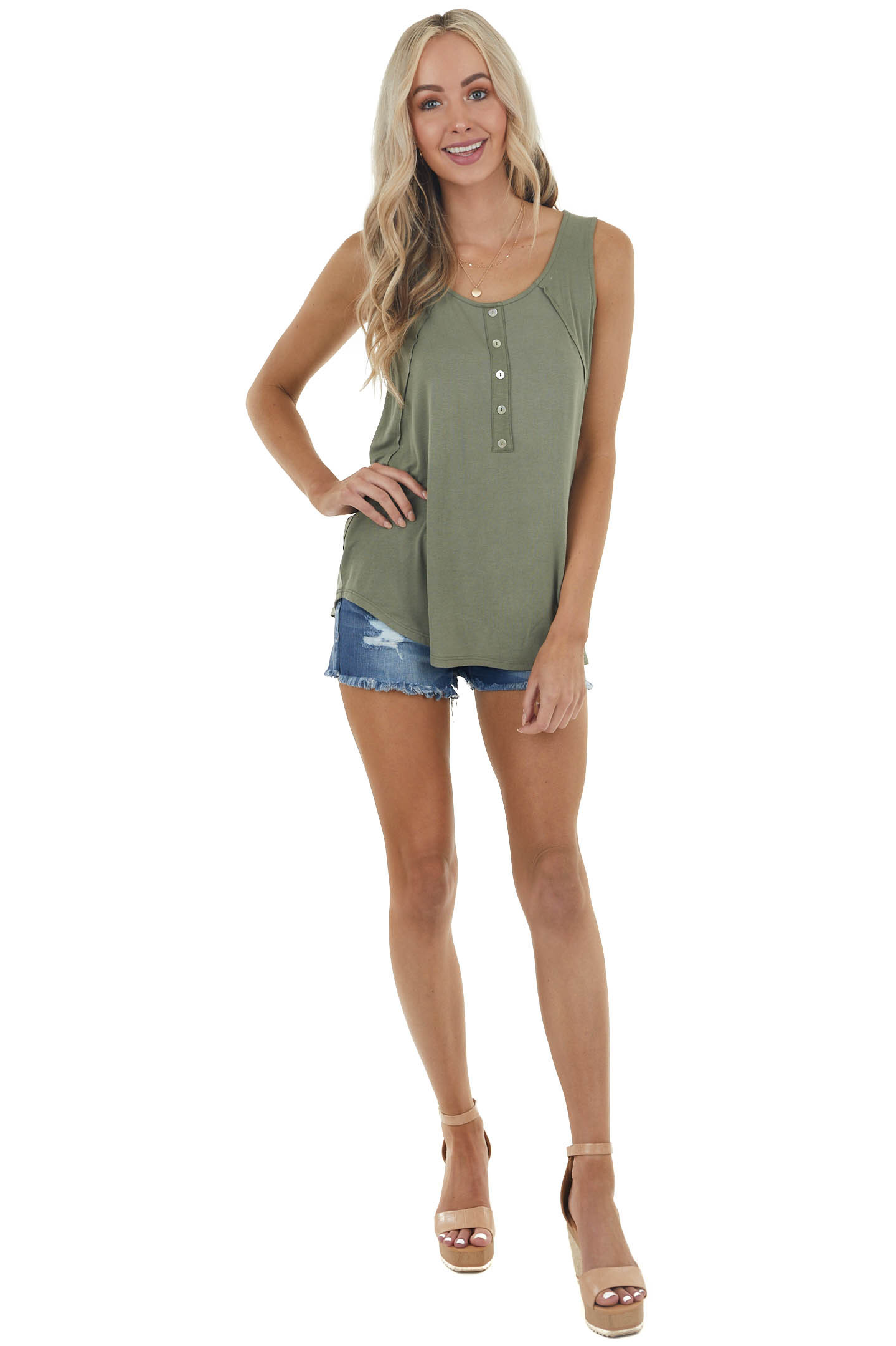 Faded Olive Henley Sleeveless Top with Raw Edge Detail