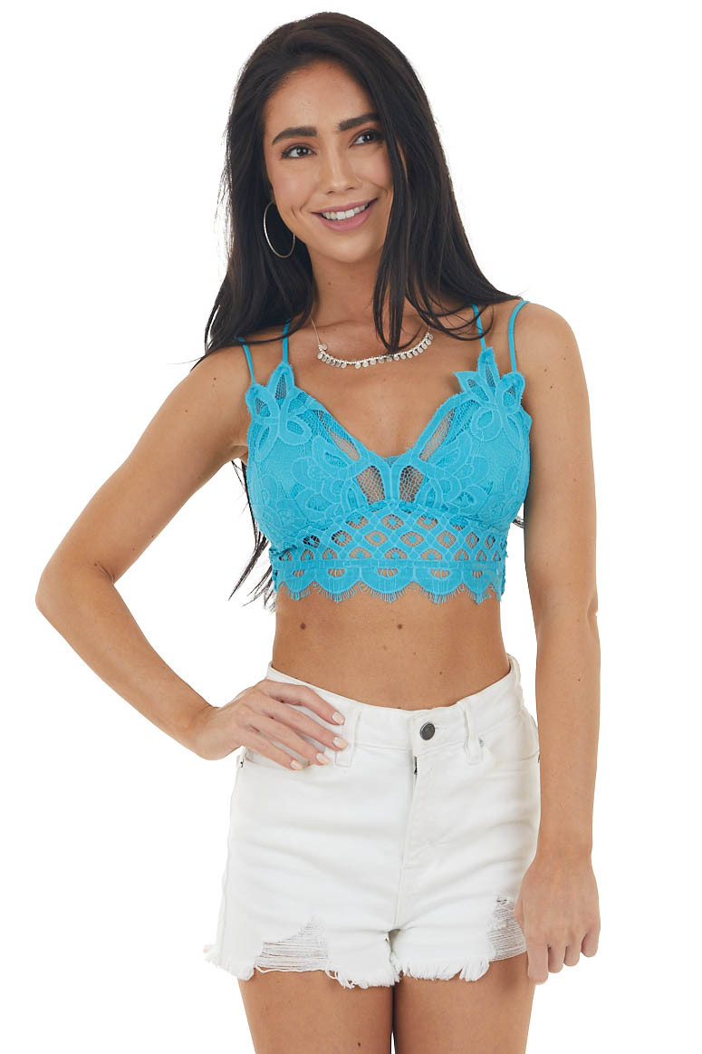 Aqua Blue Padded Lace Bralette with Criss Cross Straps