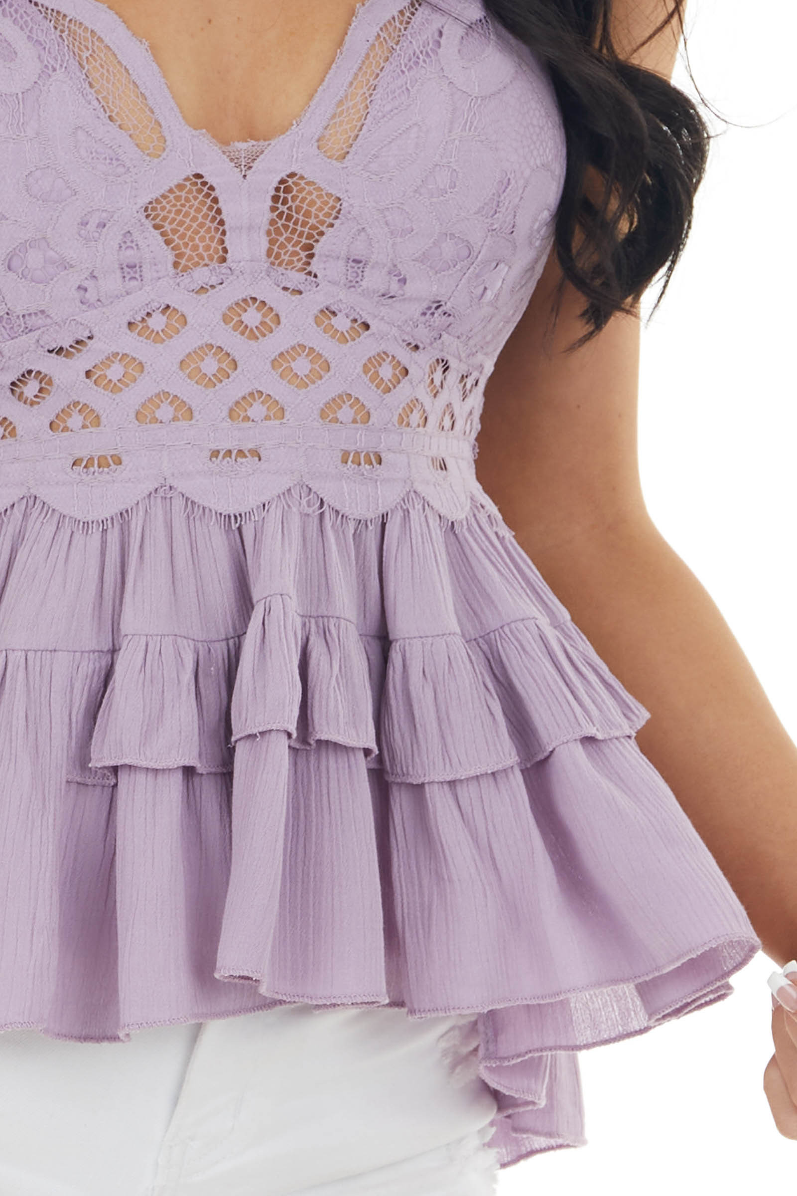 Lavender Lace Peplum Ruffled Tank with Criss Cross Straps