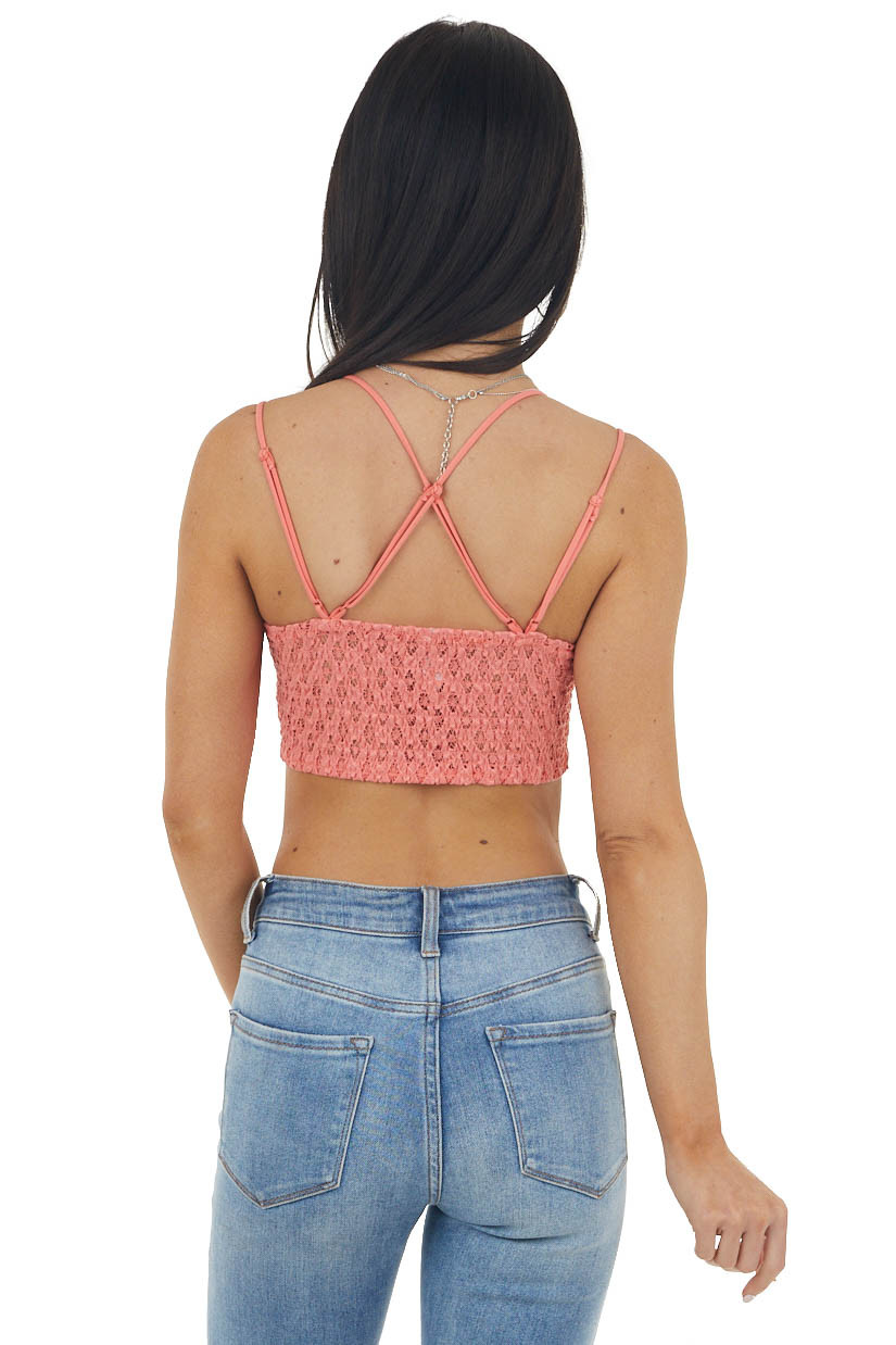 Punch Pink Padded Lace Bralette with Criss Cross Straps