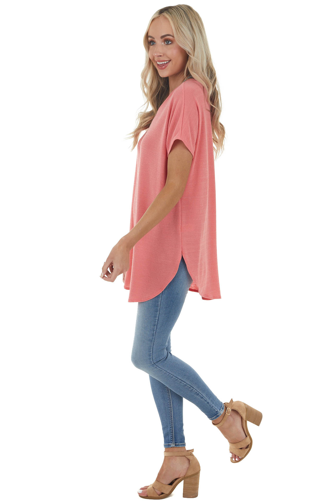 Punch Pink V Neck Knit Tunic Top with Short Sleeves