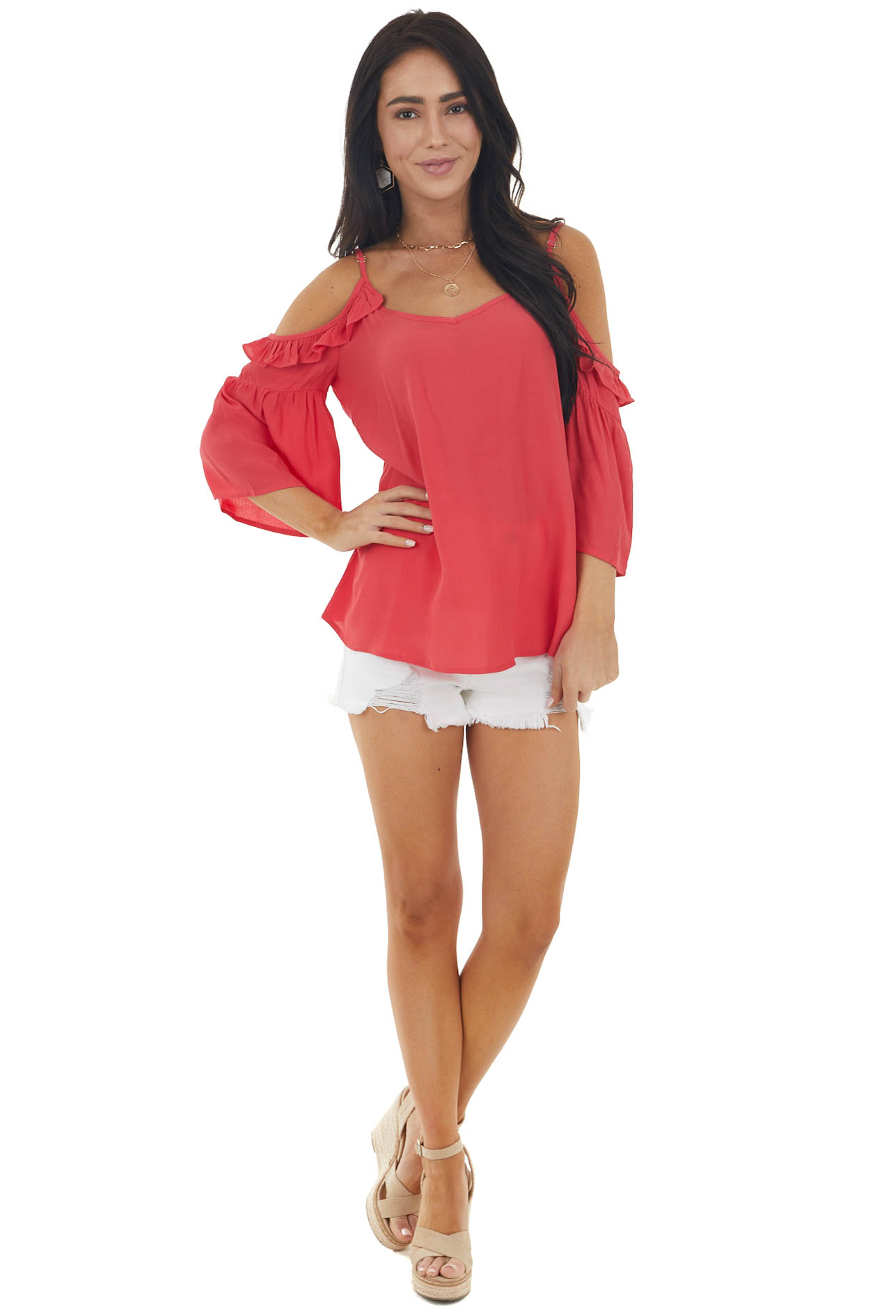 Hibiscus Cold Shoulder V Neck Blouse with Ruffle Details