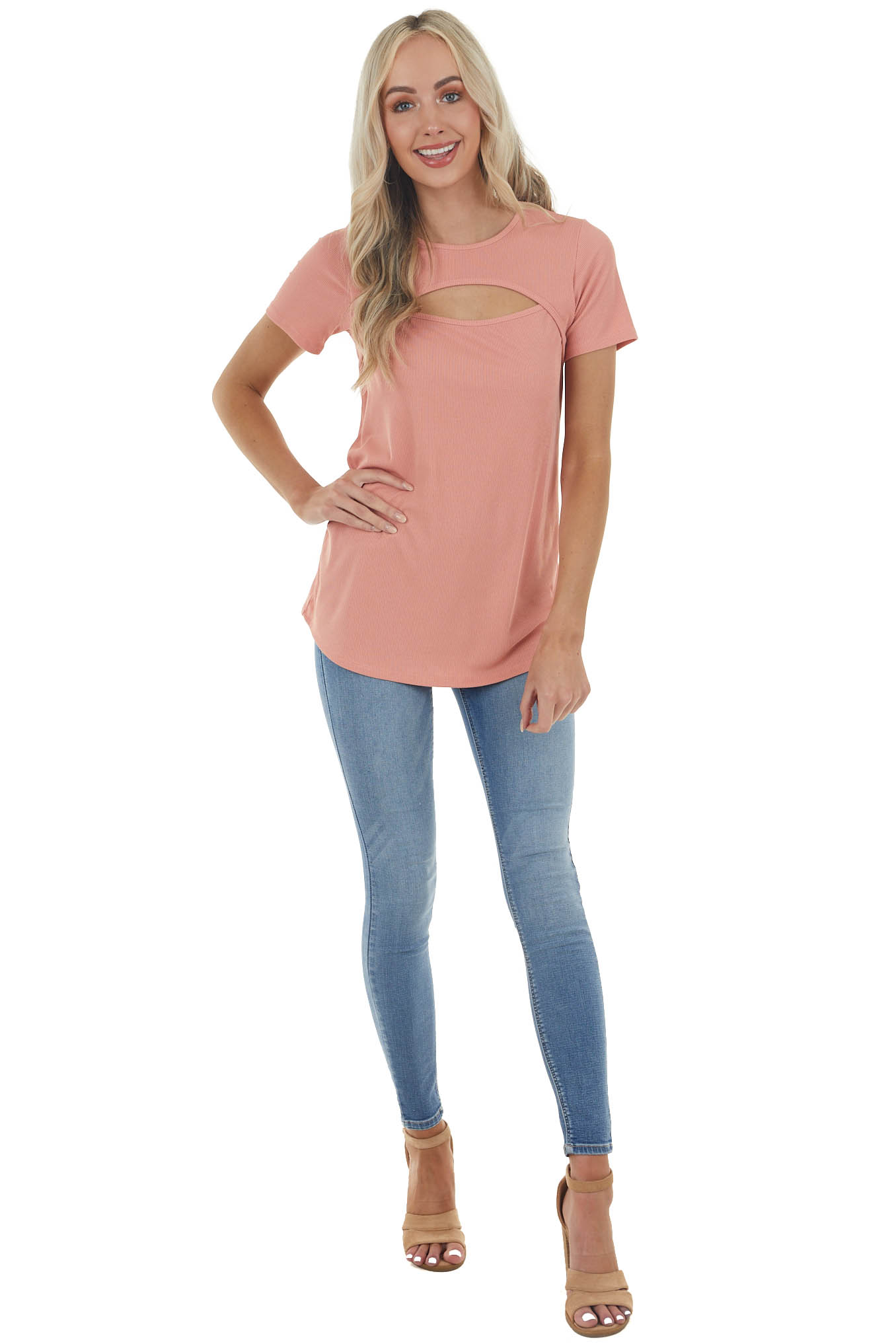 Salmon Ribbed Knit Short Sleeve Top with Chest Cutout
