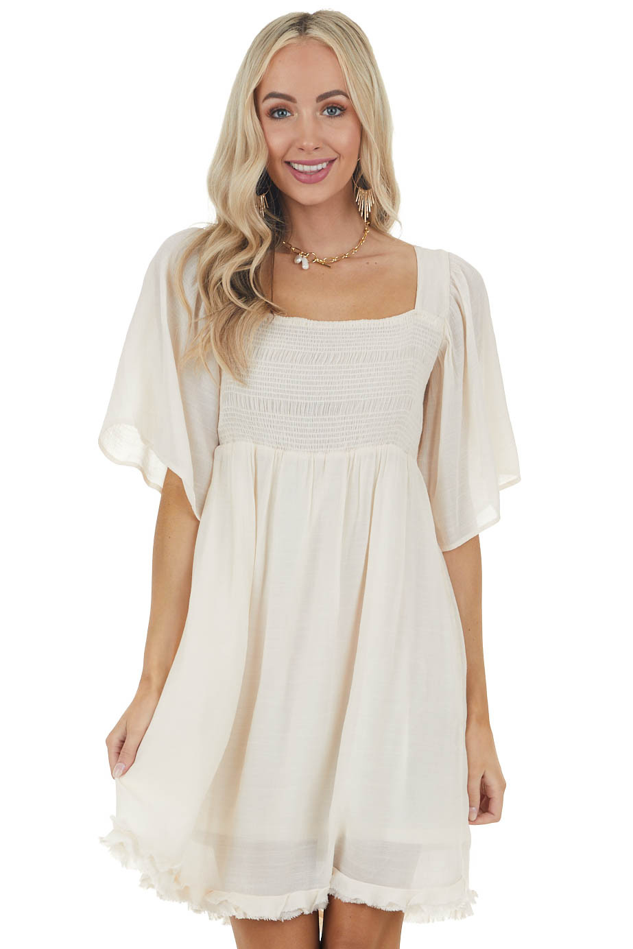 Champagne Smocked Babydoll Short Dress with Flutter Sleeves