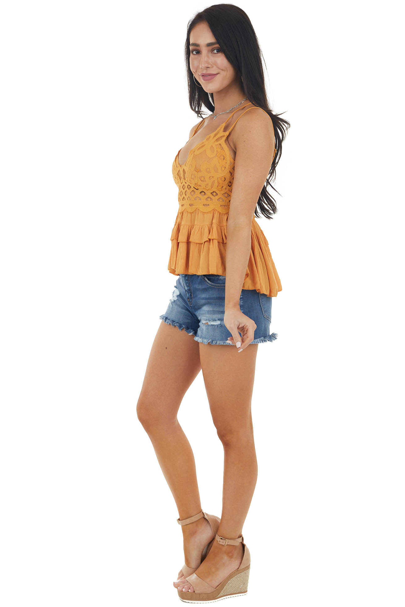 Amber Lace Peplum Ruffled Tank with Criss Cross Straps
