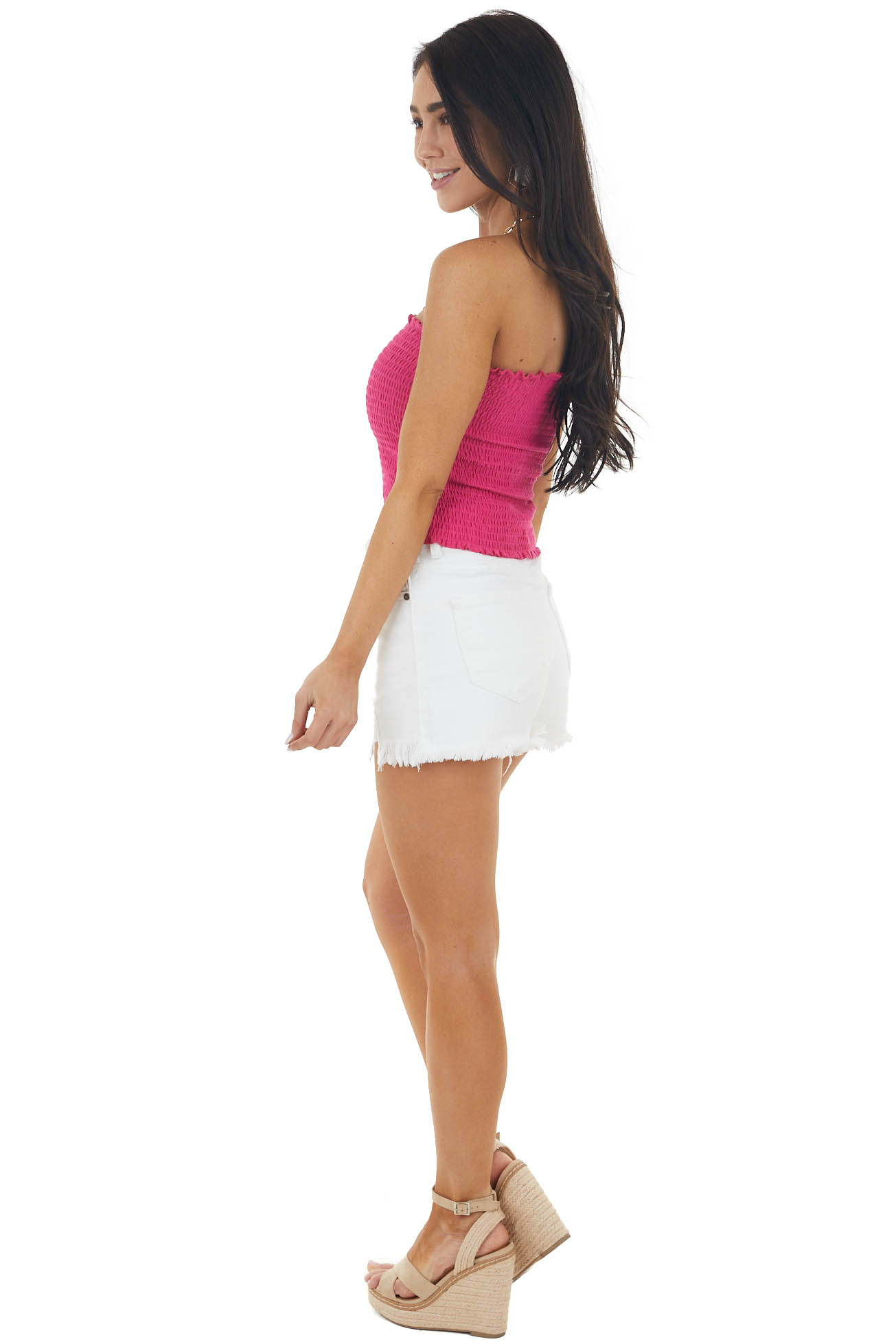 Fuchsia Smocked Strapless Bandeau Top with Ruffled Hemlines