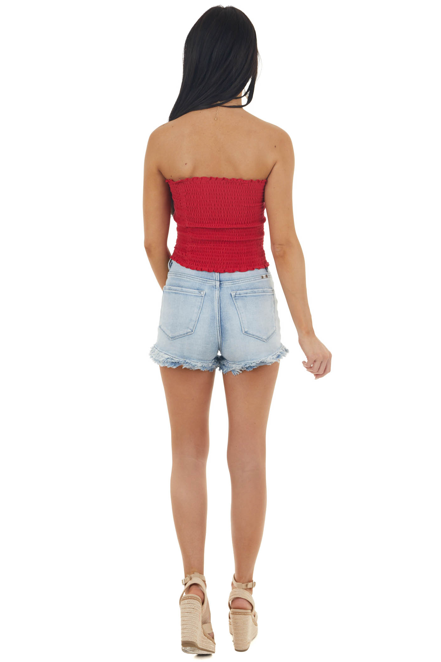 Ruby Smocked Strapless Bandeau Top with Ruffled Hemlines