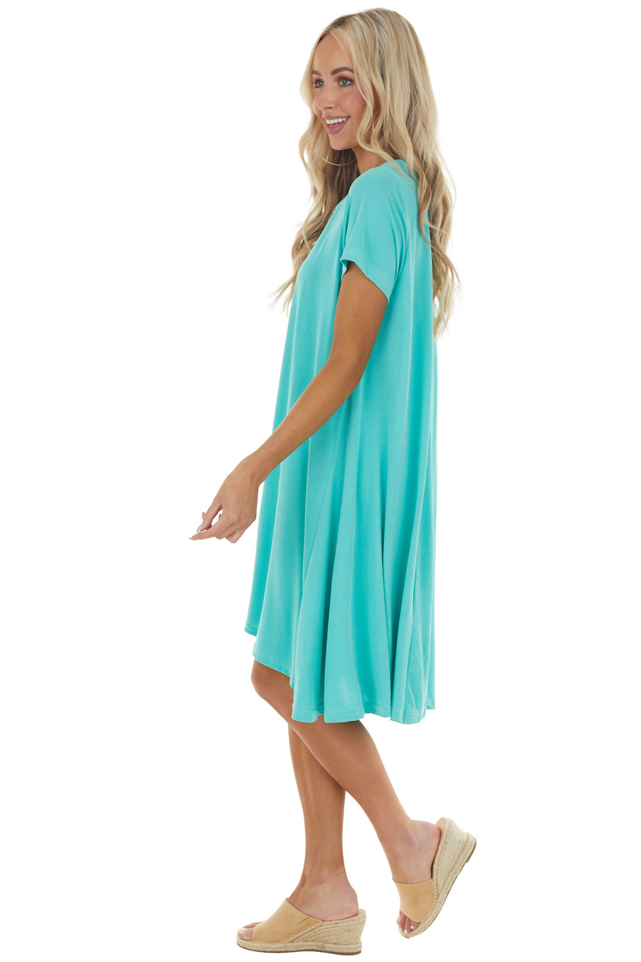 Aqua Stretchy Knit Short Swing Dress with Short Sleeves