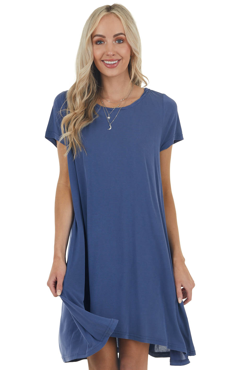 Navy Stretchy Knit Short Swing Dress with Short Sleeves