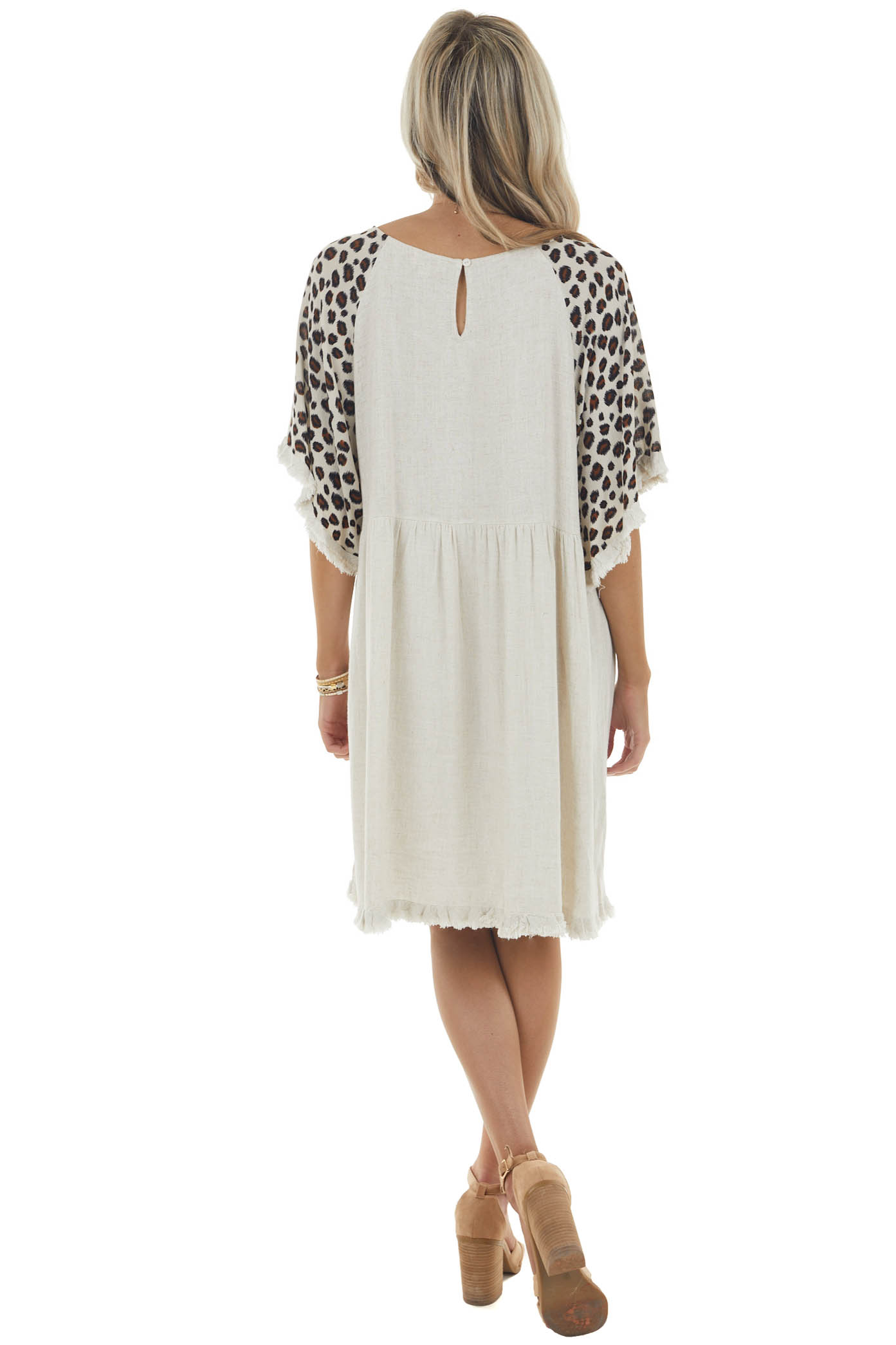 Oatmeal Leopard Print Babydoll Dress with Raw Detail