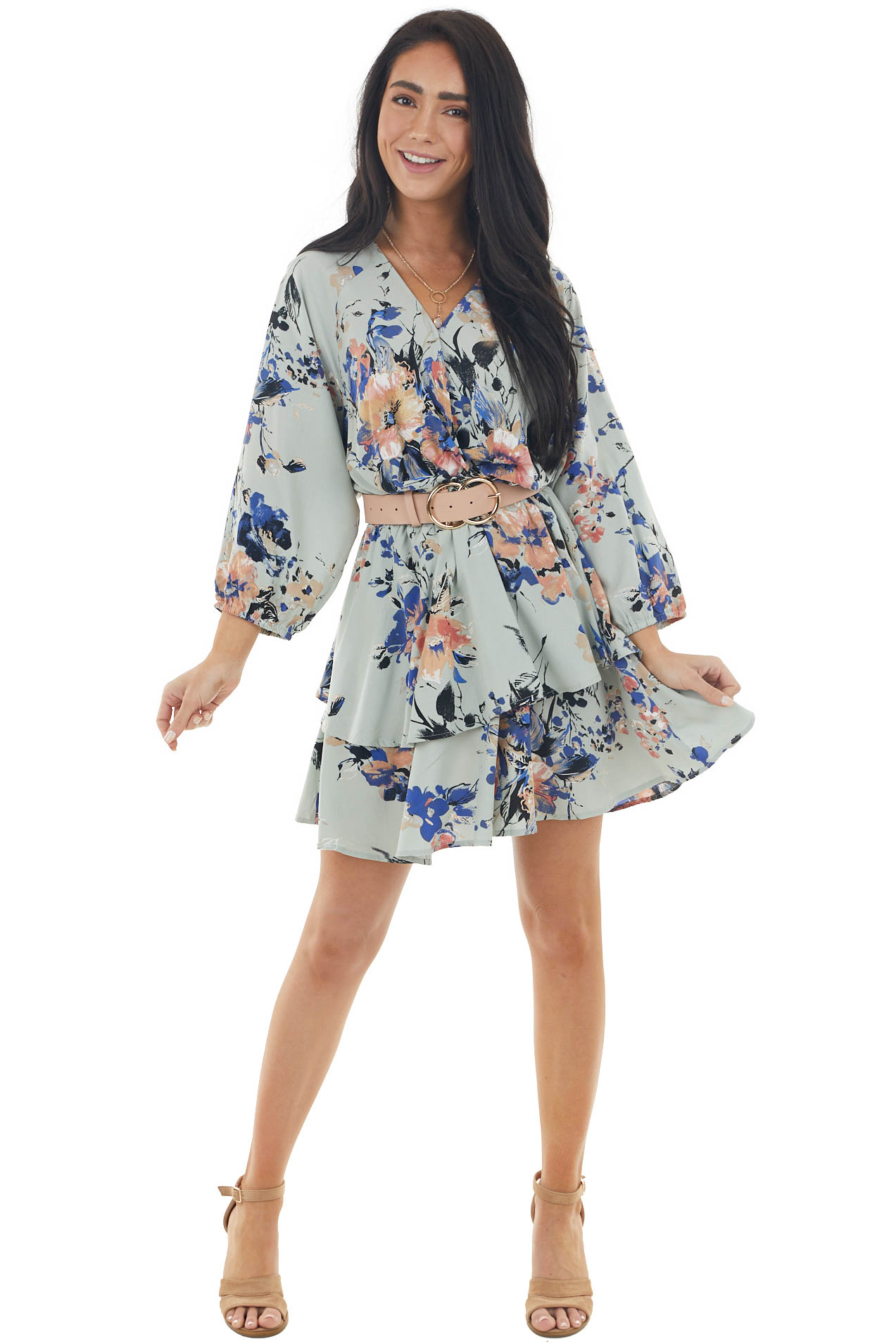 Dusty Sage Floral Surplice Neck Mini Dress with Long Sleeves
