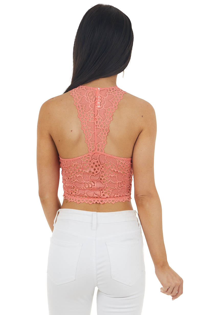 Deep Coral Floral Lace Padded Bralette with Racerback