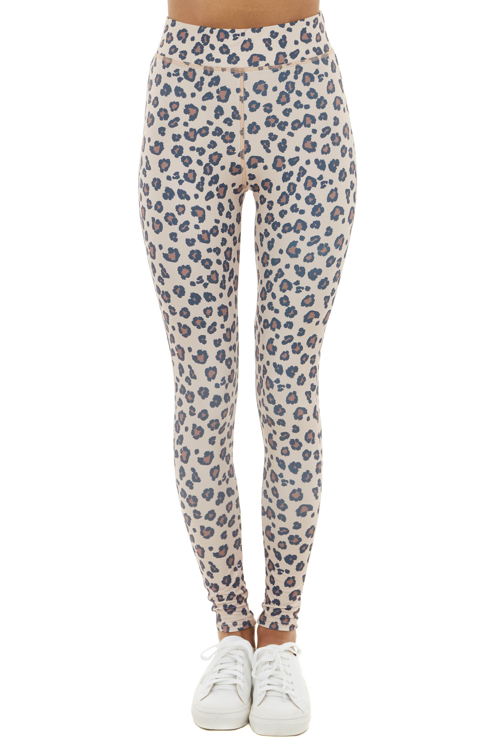 Rich Beige Leopard Print High Waisted Stretchy Leggings