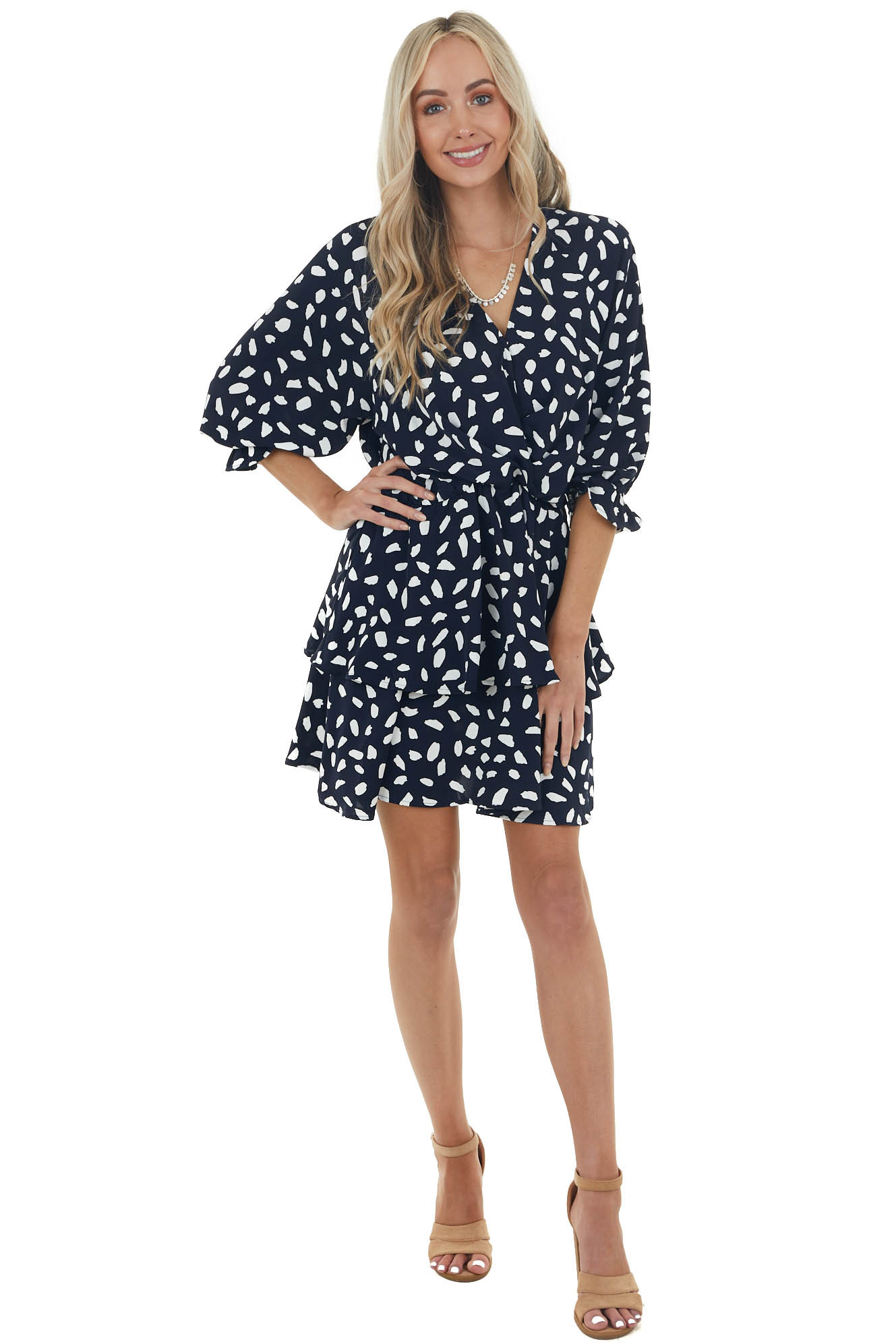 Navy Cheetah Surplice Ruffle Dress with Bubble Sleeves
