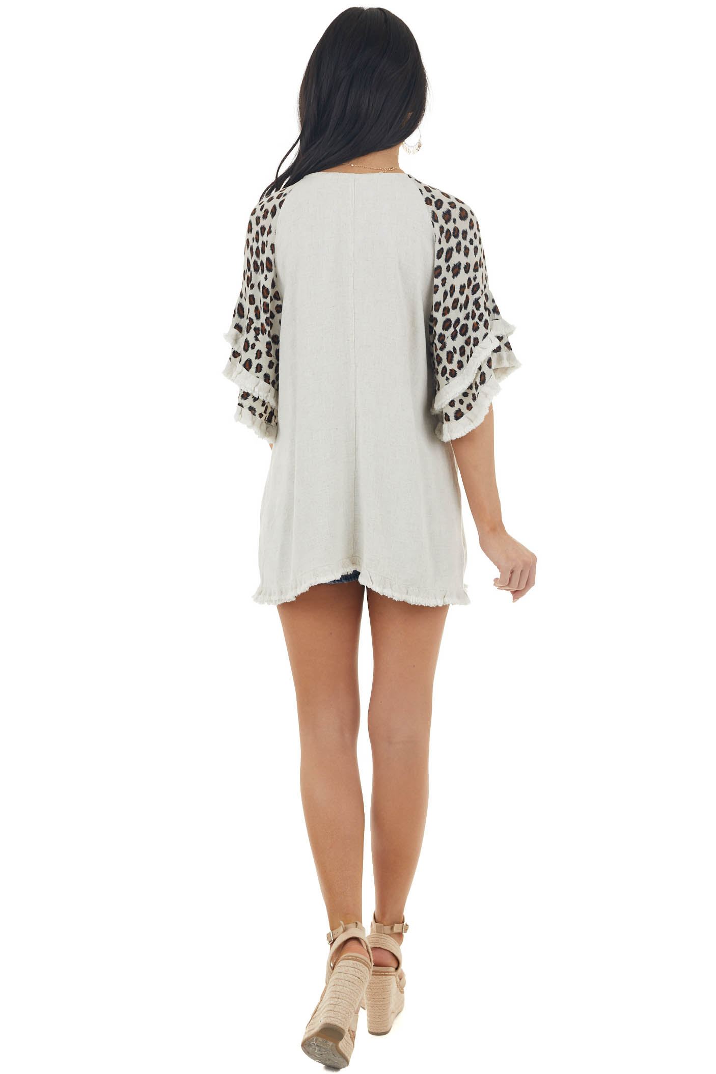 Oatmeal Leopard Print Flare Sleeve Linen Top with Raw Detail