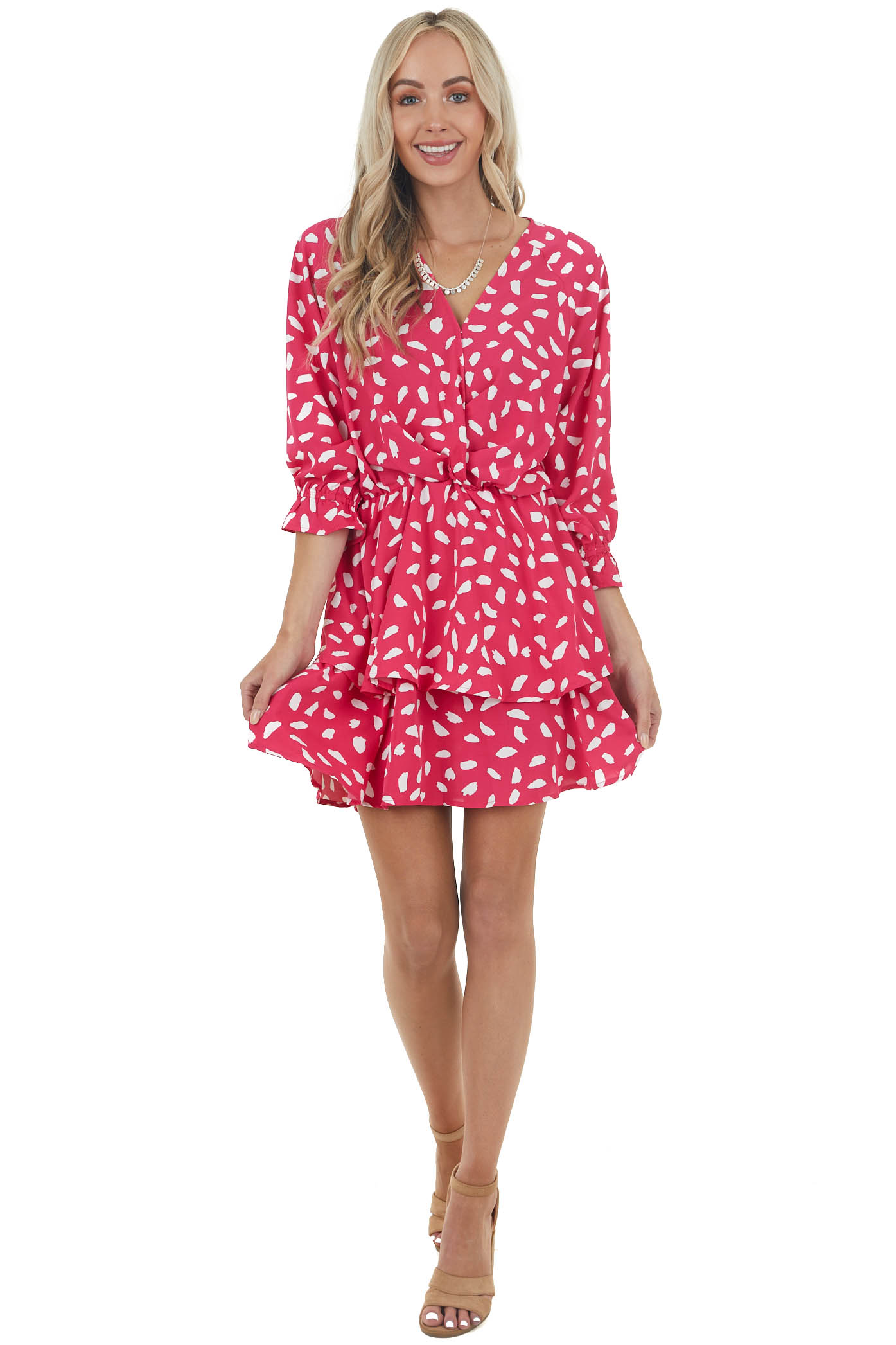 Hot Pink Cheetah Surplice Ruffle Dress with Bubble Sleeves