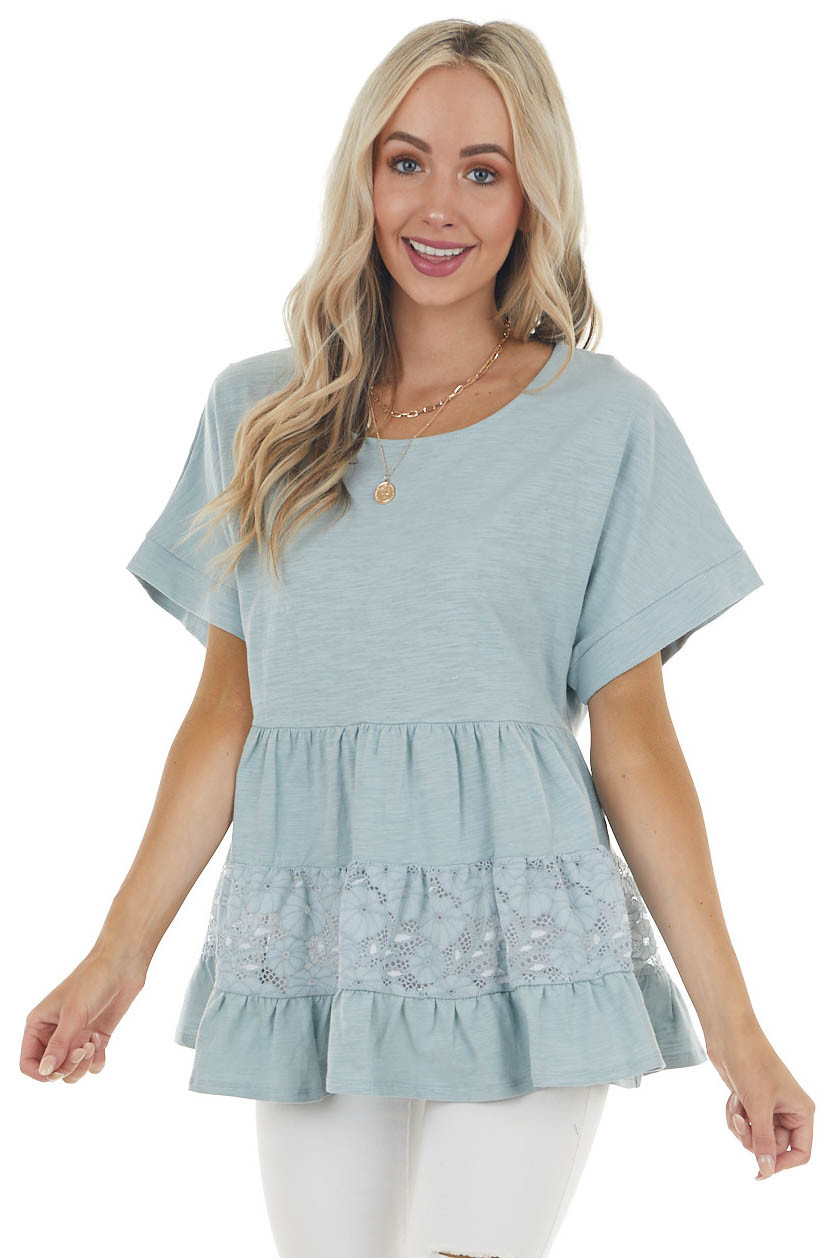 Vintage Seafoam Drop Waist Tiered Knit Top with Lace Detail