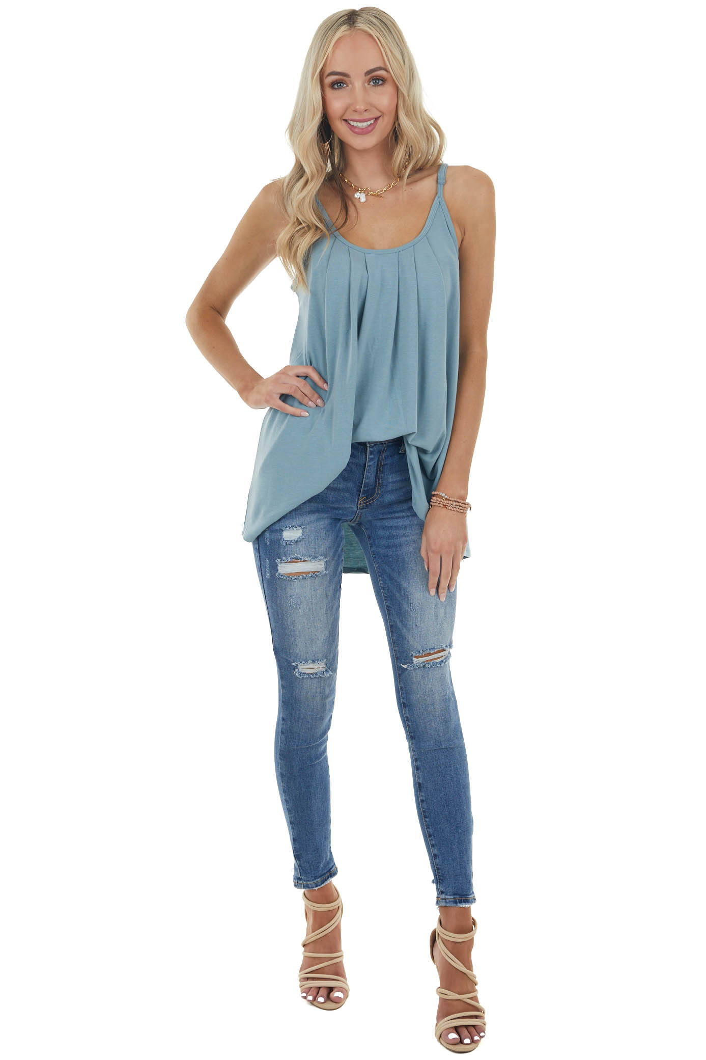 Dusty Teal Sleeveless Knit Top with Pleated Neckline