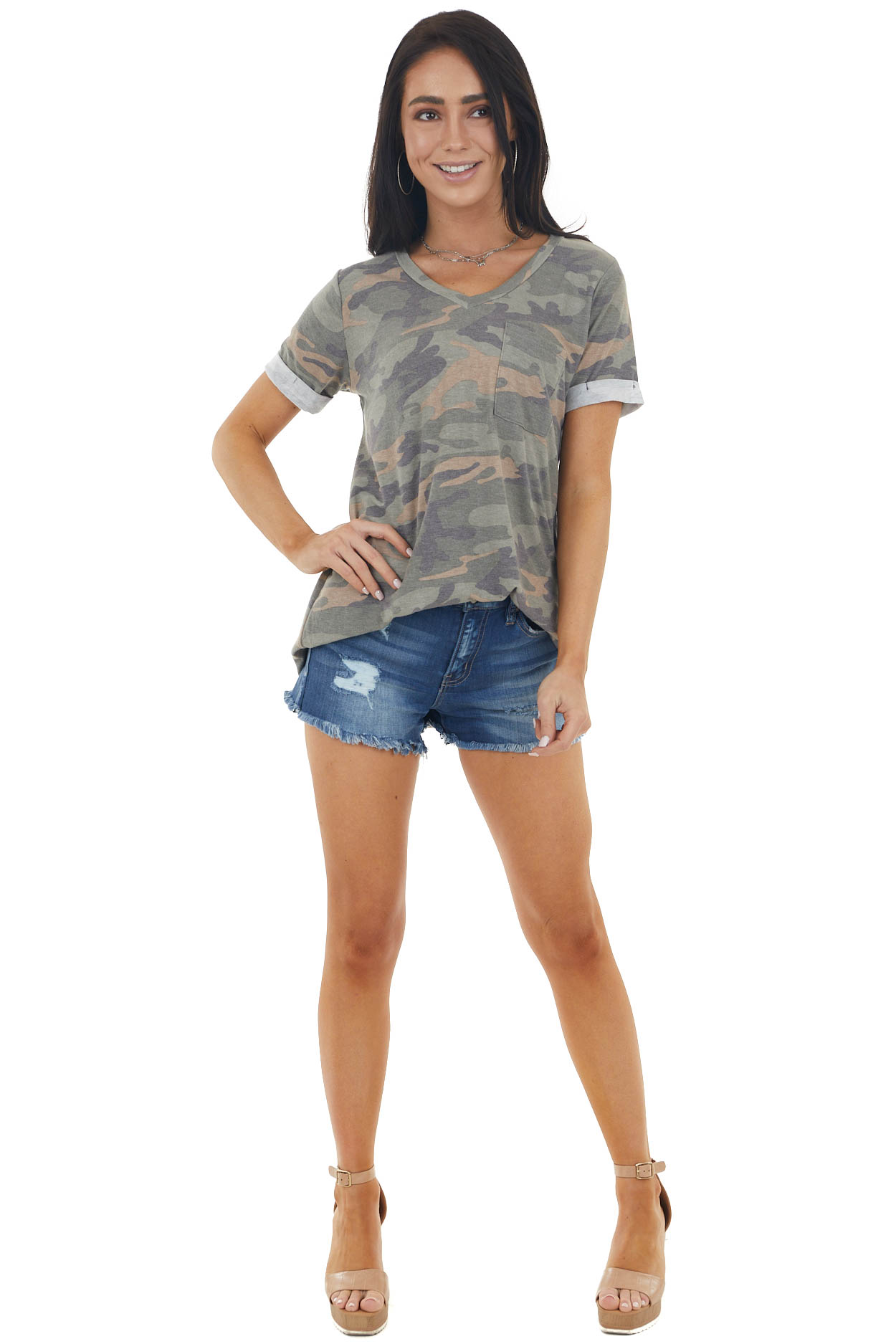 Sage Camo Short Cuffed Sleeves Knit Top with Front Pocket