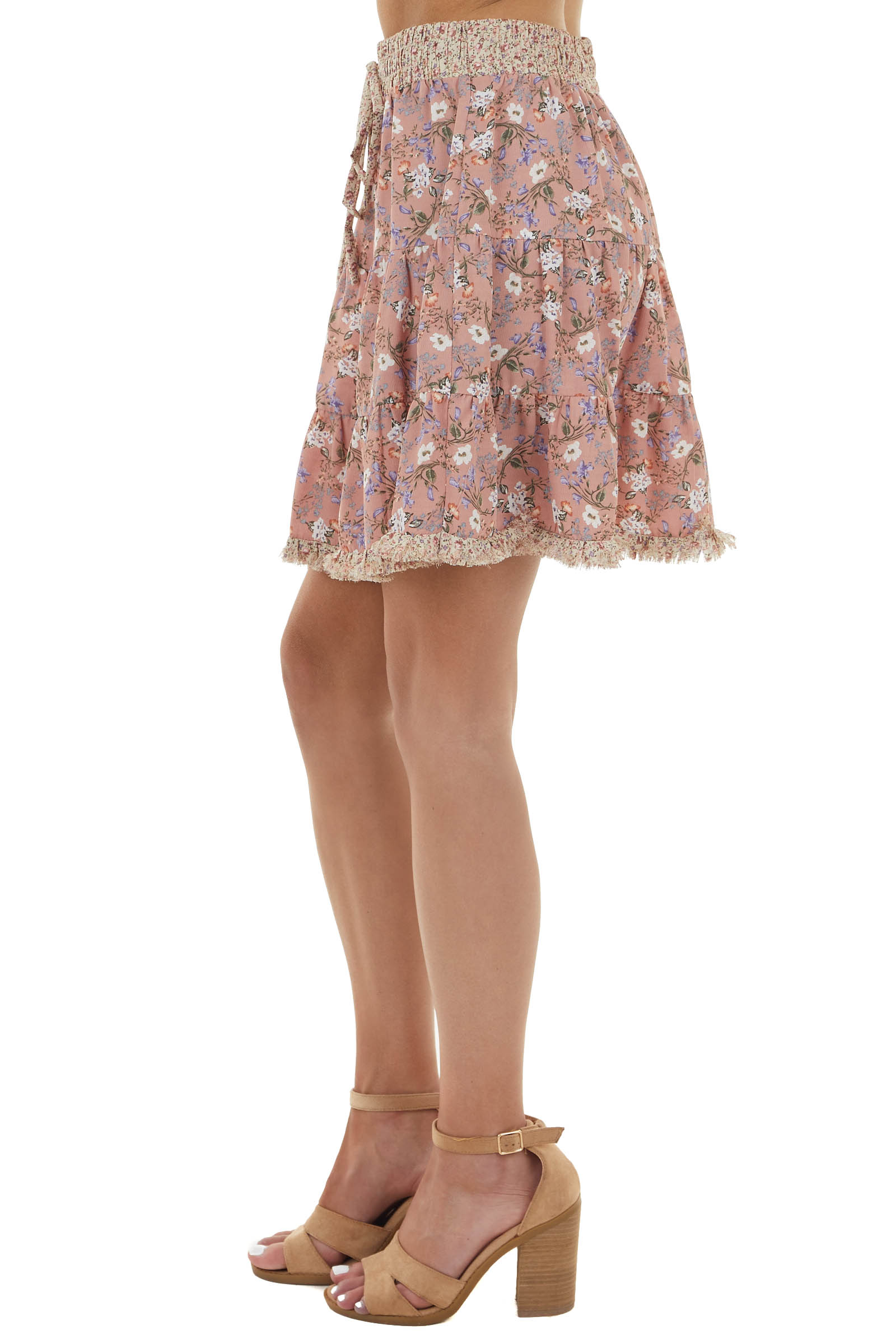 Dusty Rose Floral Print Short Tiered Skirt with Frayed Hem