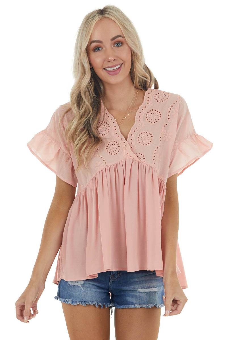 Dusty Blush Drop Waist Eyelet Lace Blouse with Neck Tie