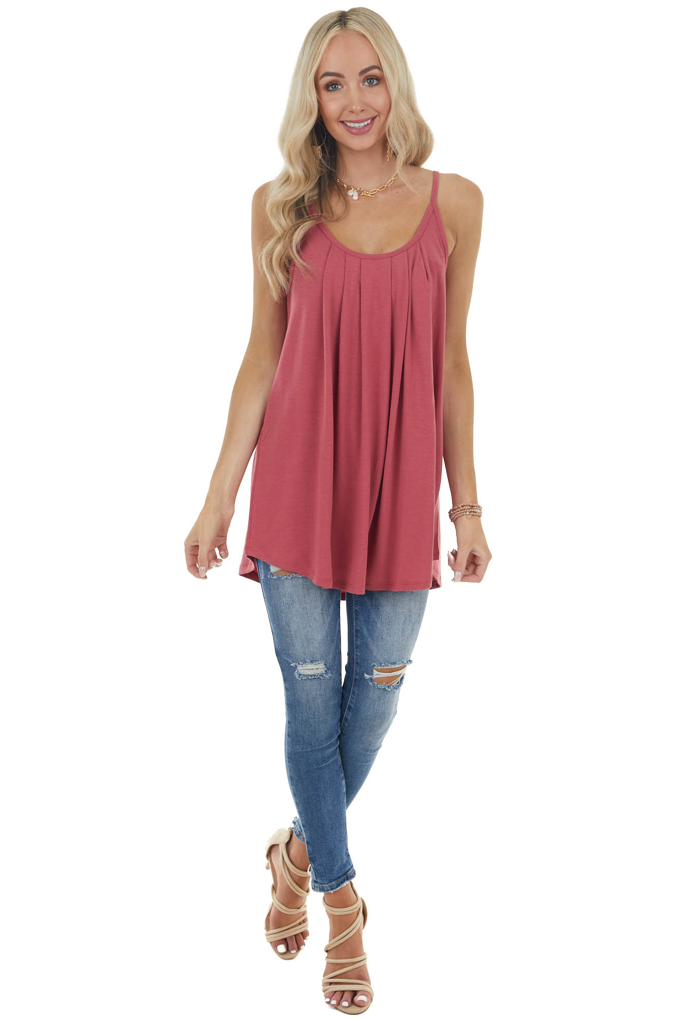 Hibiscus Red Sleeveless Knit Top with Pleated Neckline