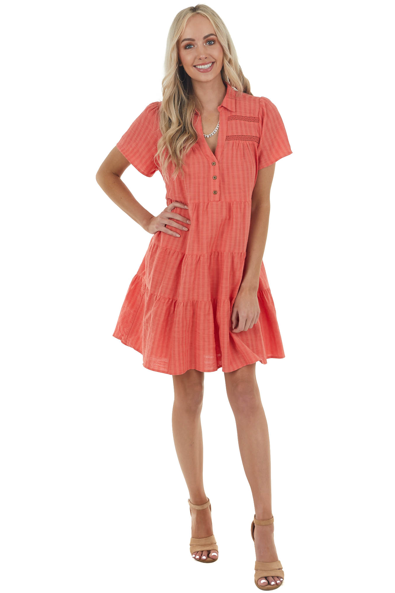 Fire Orange Two Toned Collared Drop Waist Tiered Short Dress