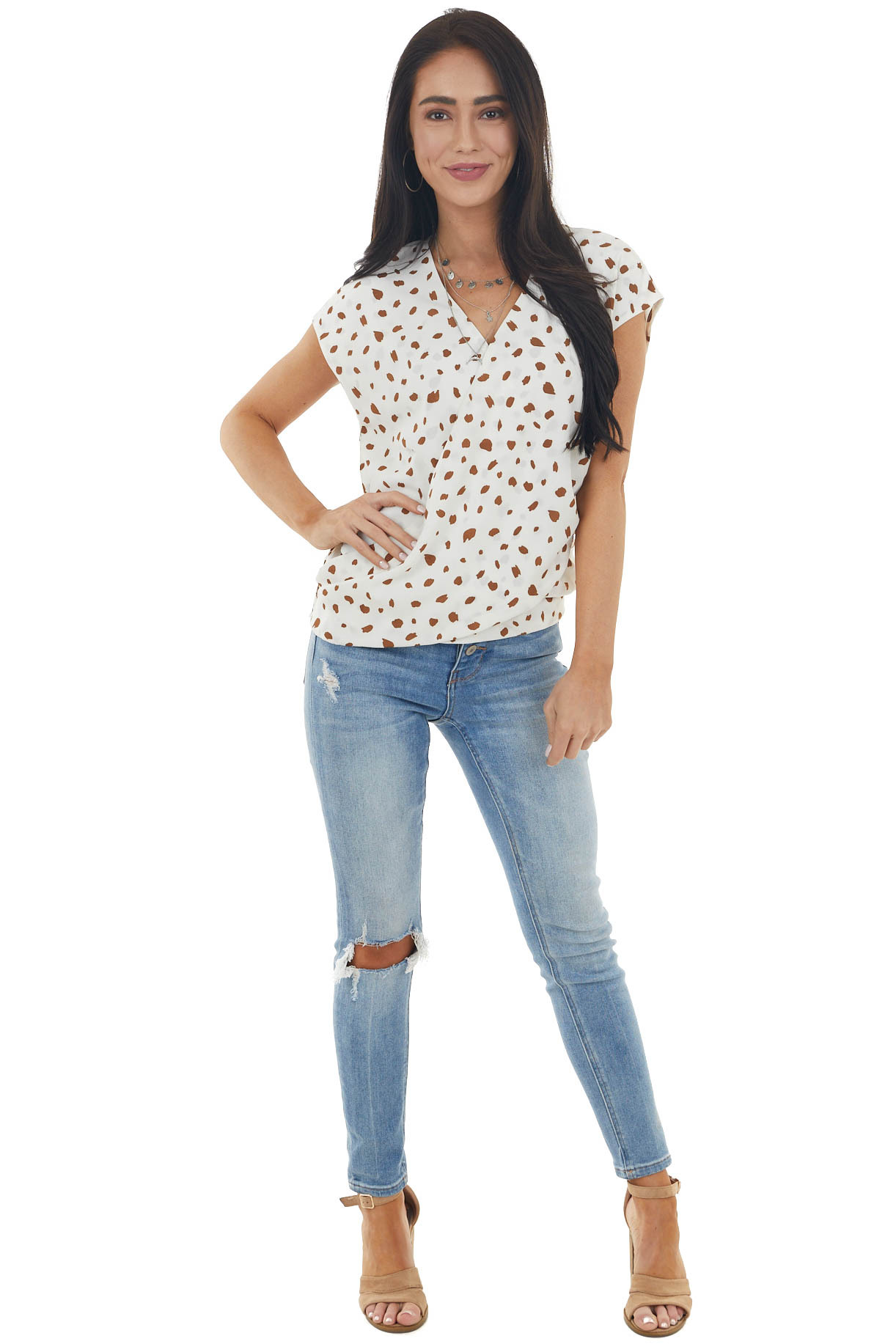 Ivory and Walnut Patterned Surplice Top with Short Sleeves