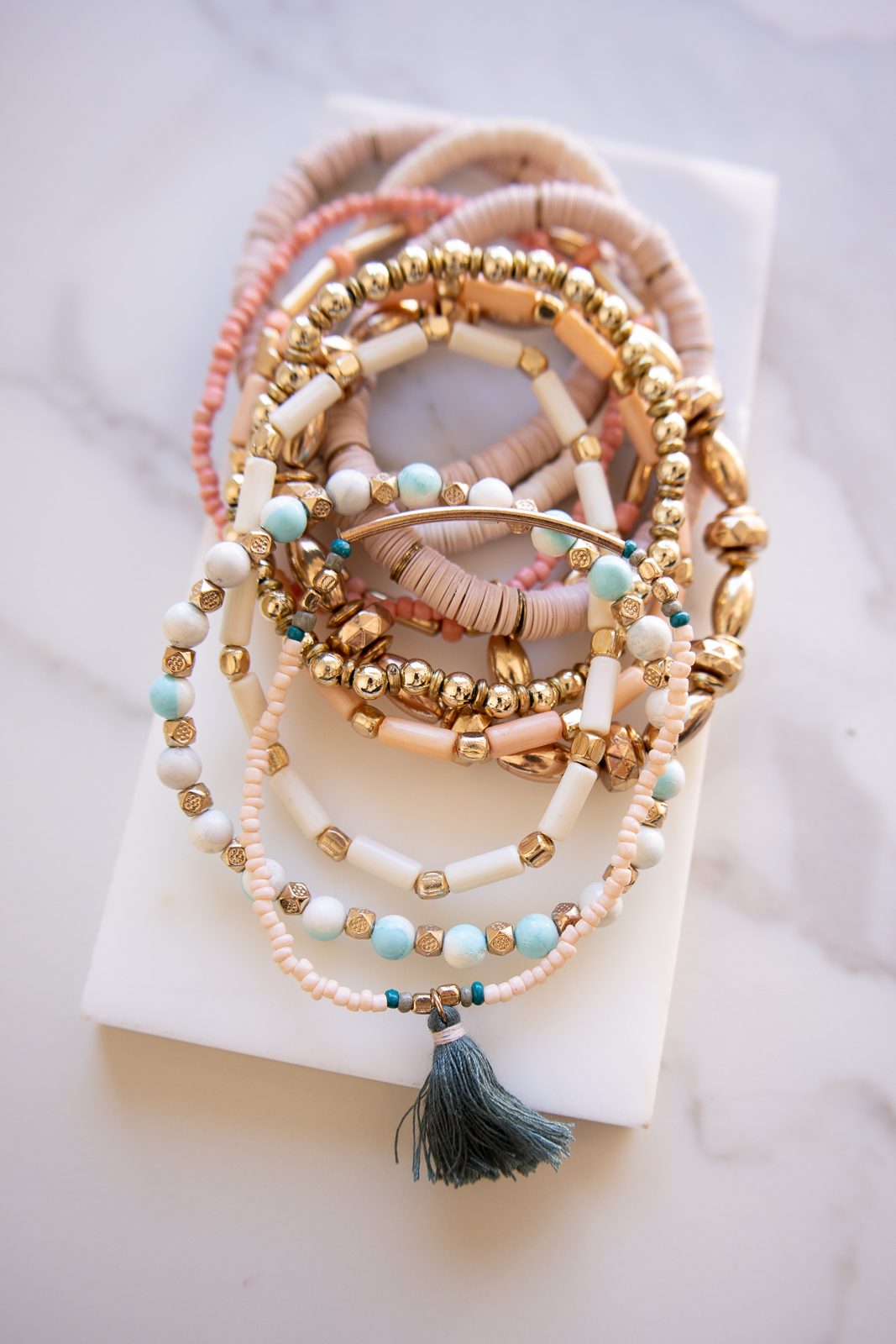 Gold and Blush Wood and Beaded Multi Layered Bracelets